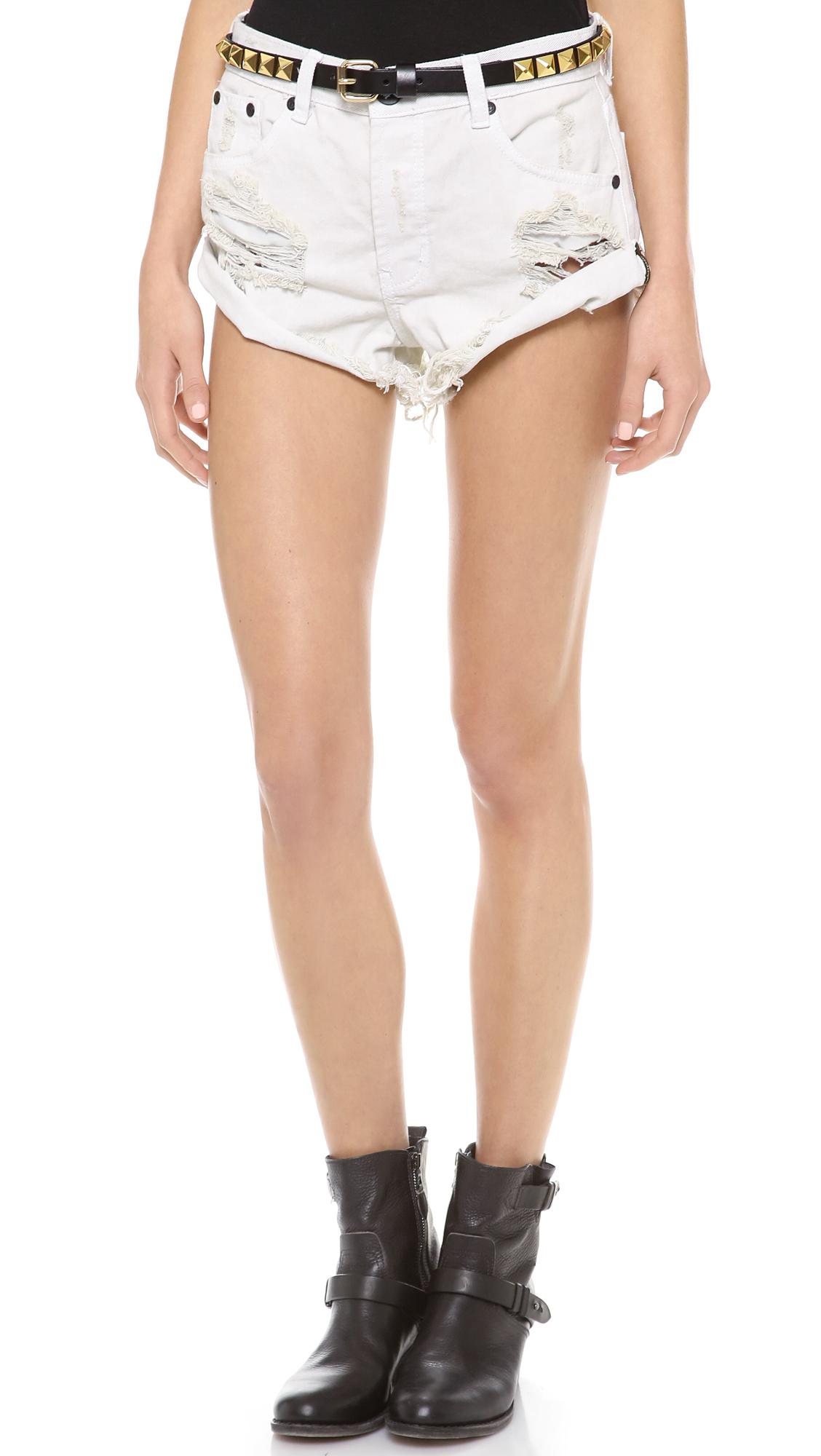 one teaspoon worn white bandit shorts in white worn white. Black Bedroom Furniture Sets. Home Design Ideas