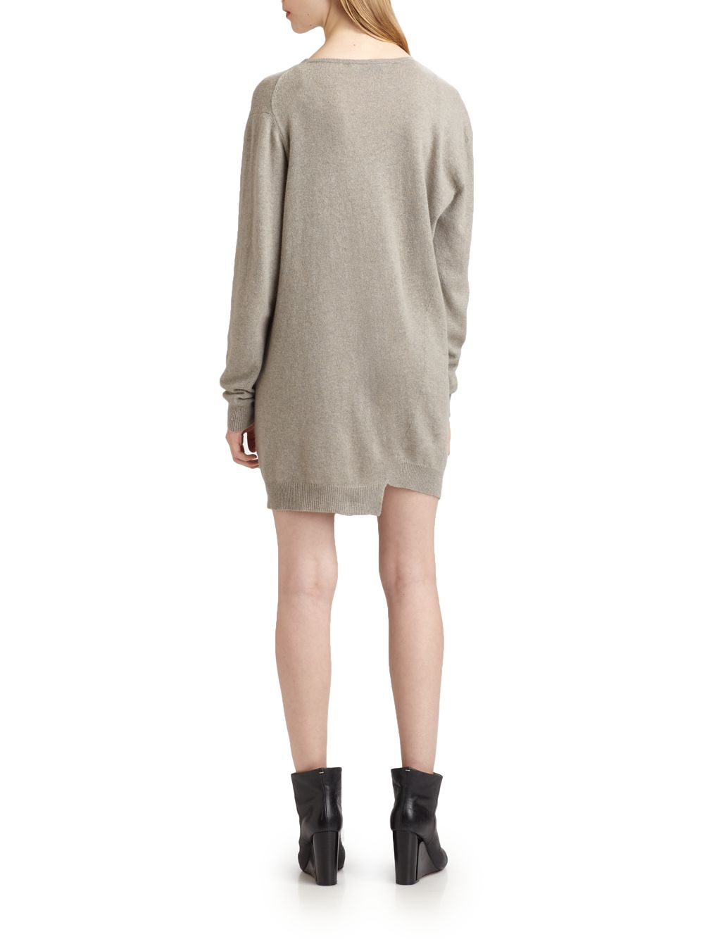 Pringle of scotland Cashmere Sweater Dress in Gray | Lyst