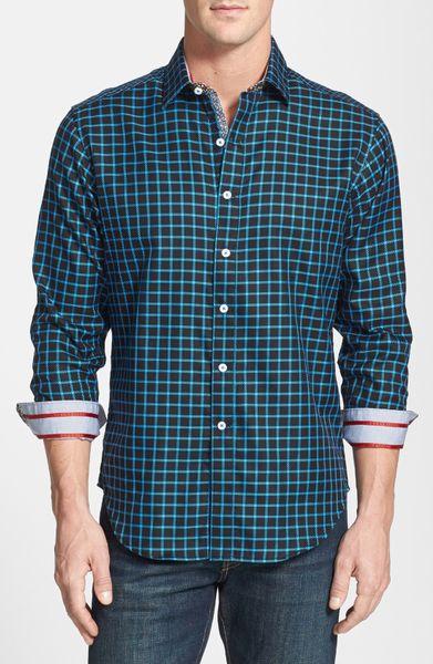 Robert graham ohm slim fit sport shirt in blue for men for Robert graham sport shirt