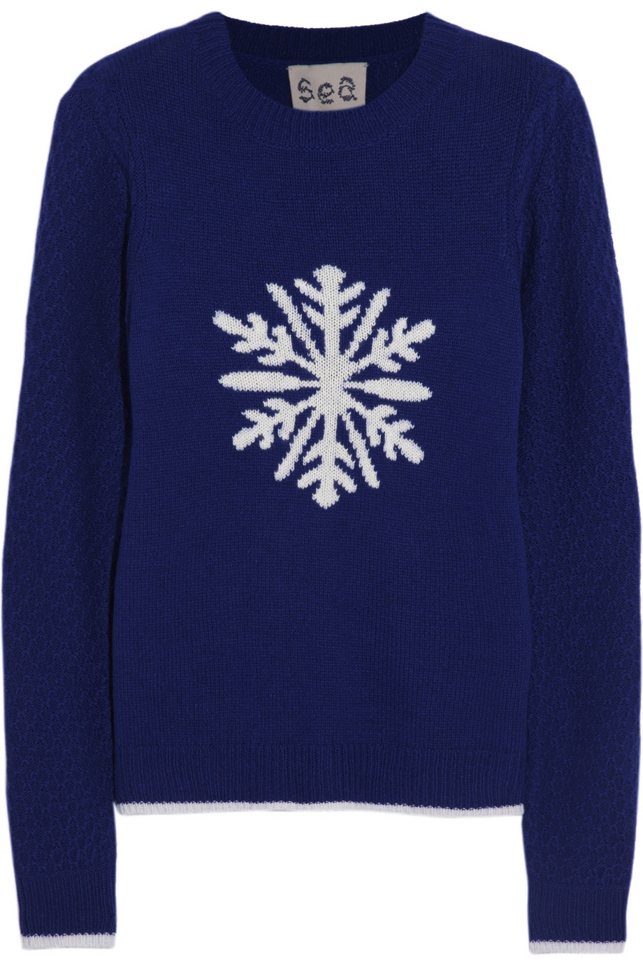 Sea Snowflake Intarsia Knitted Sweater in Blue | Lyst