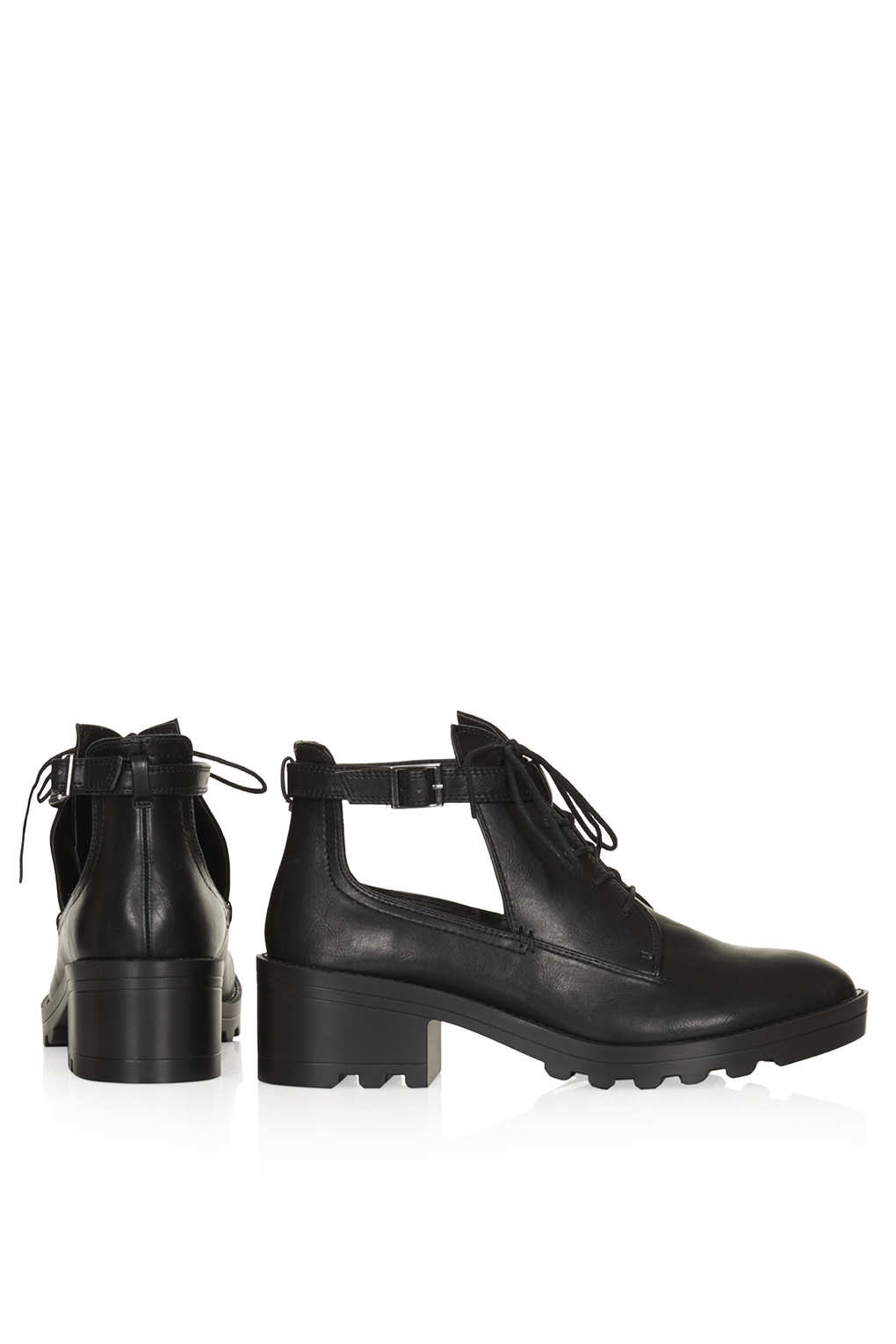 TOPSHOP Buggle Lace Up Cut Out Boots in Black