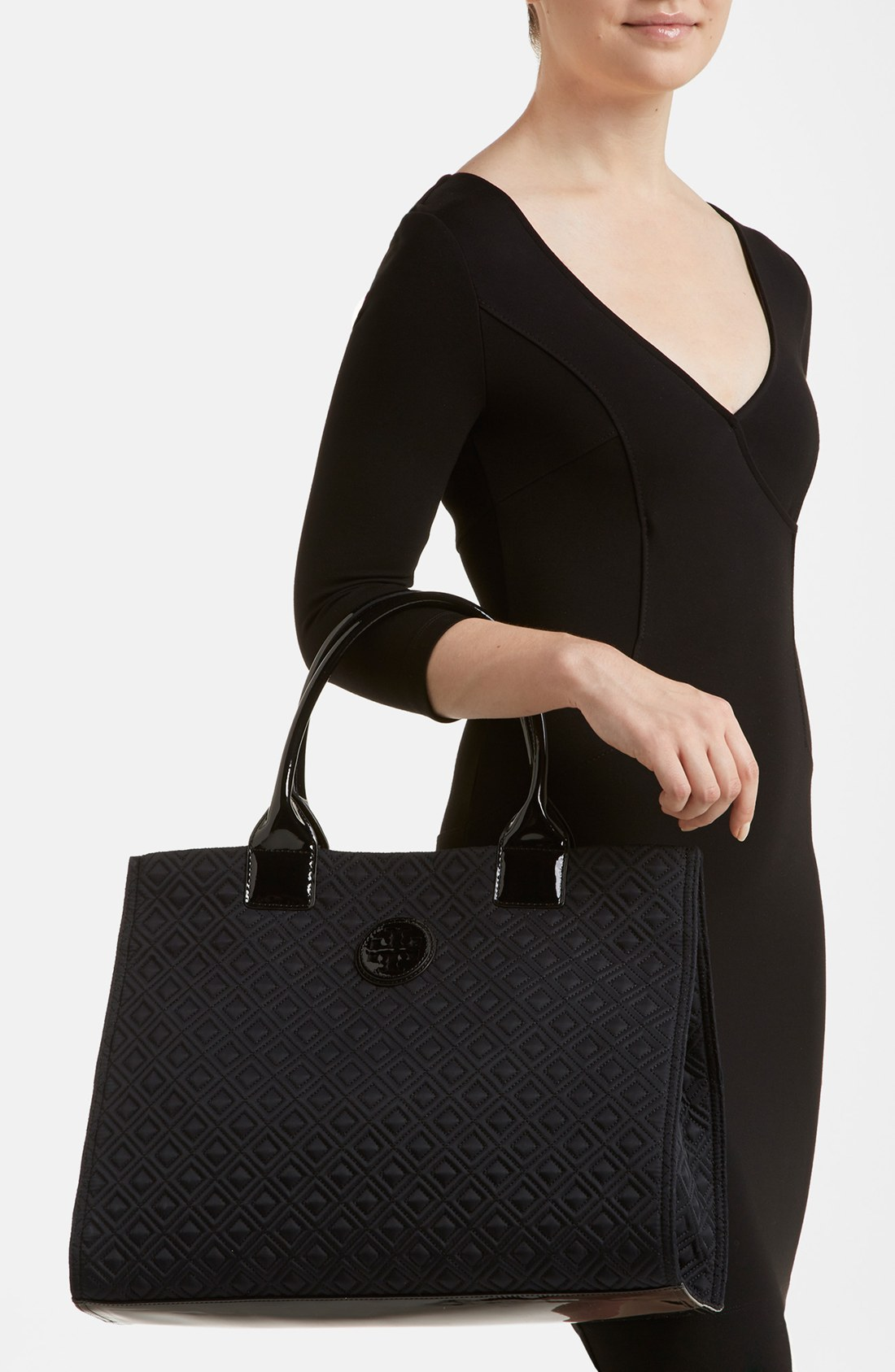 Tory Burch Ella Quilted Tote In Black Lyst