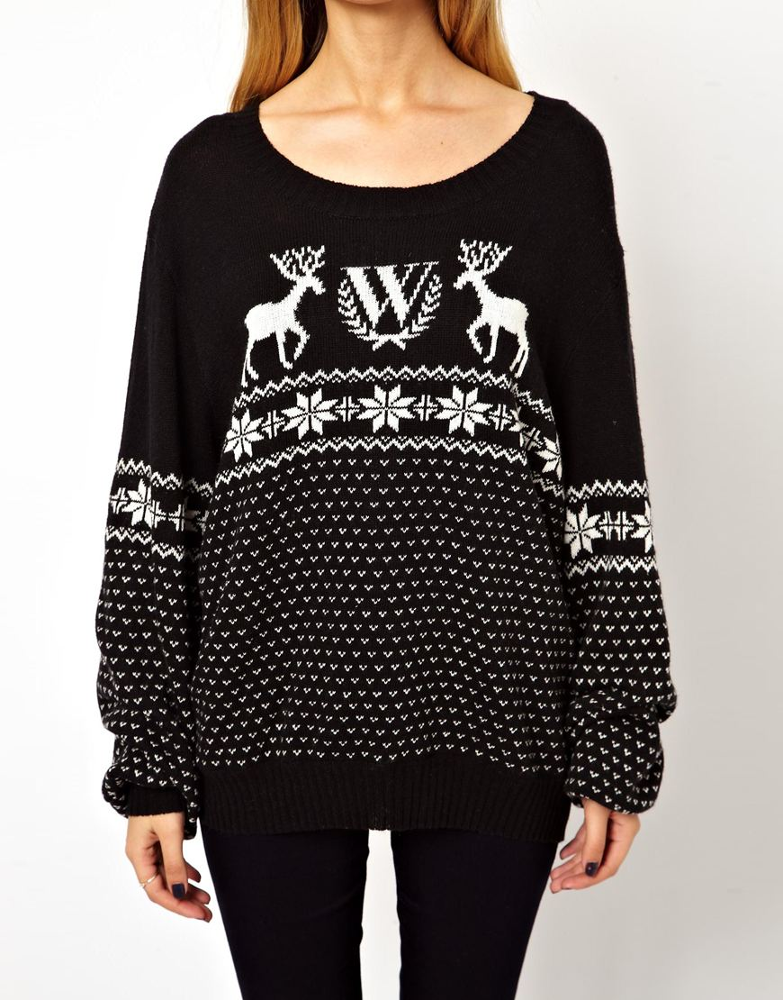 Wildfox Christmas Jumper in Black | Lyst