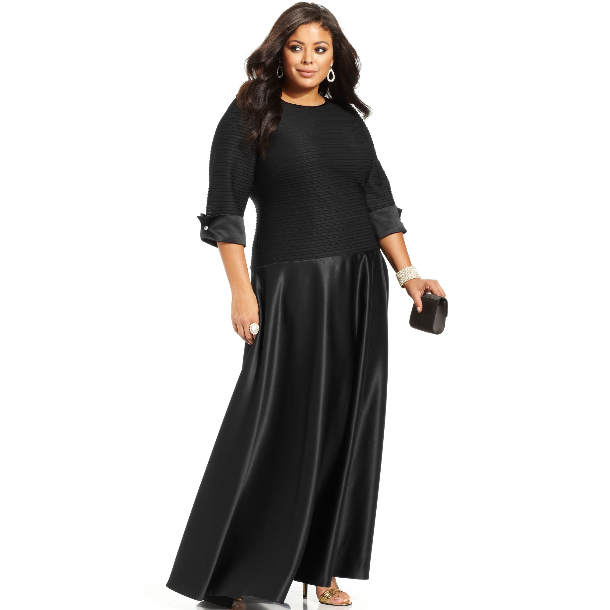 Plus Size Three Quarter Sleeve Shutter Pleat Gown