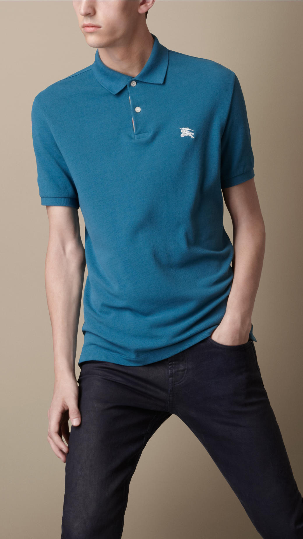 Lyst Burberry Check Placket Polo Shirt In Blue For Men