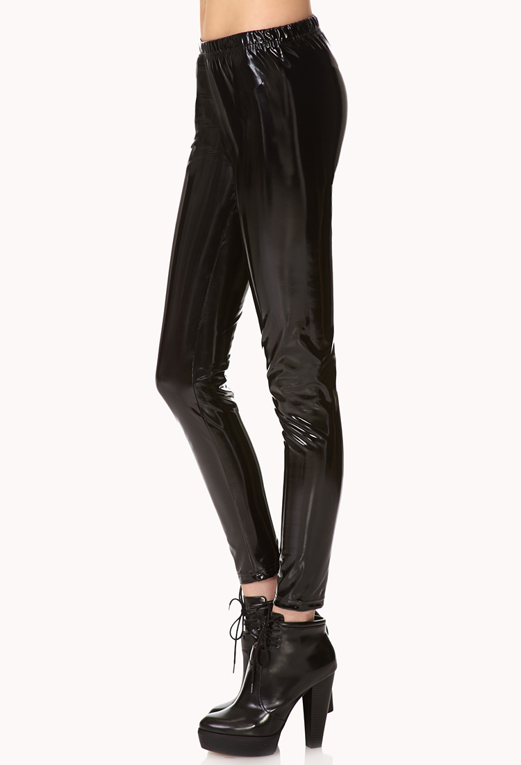 883bb8161b700e Forever 21 Standout Faux Patent Pants in Black - Lyst