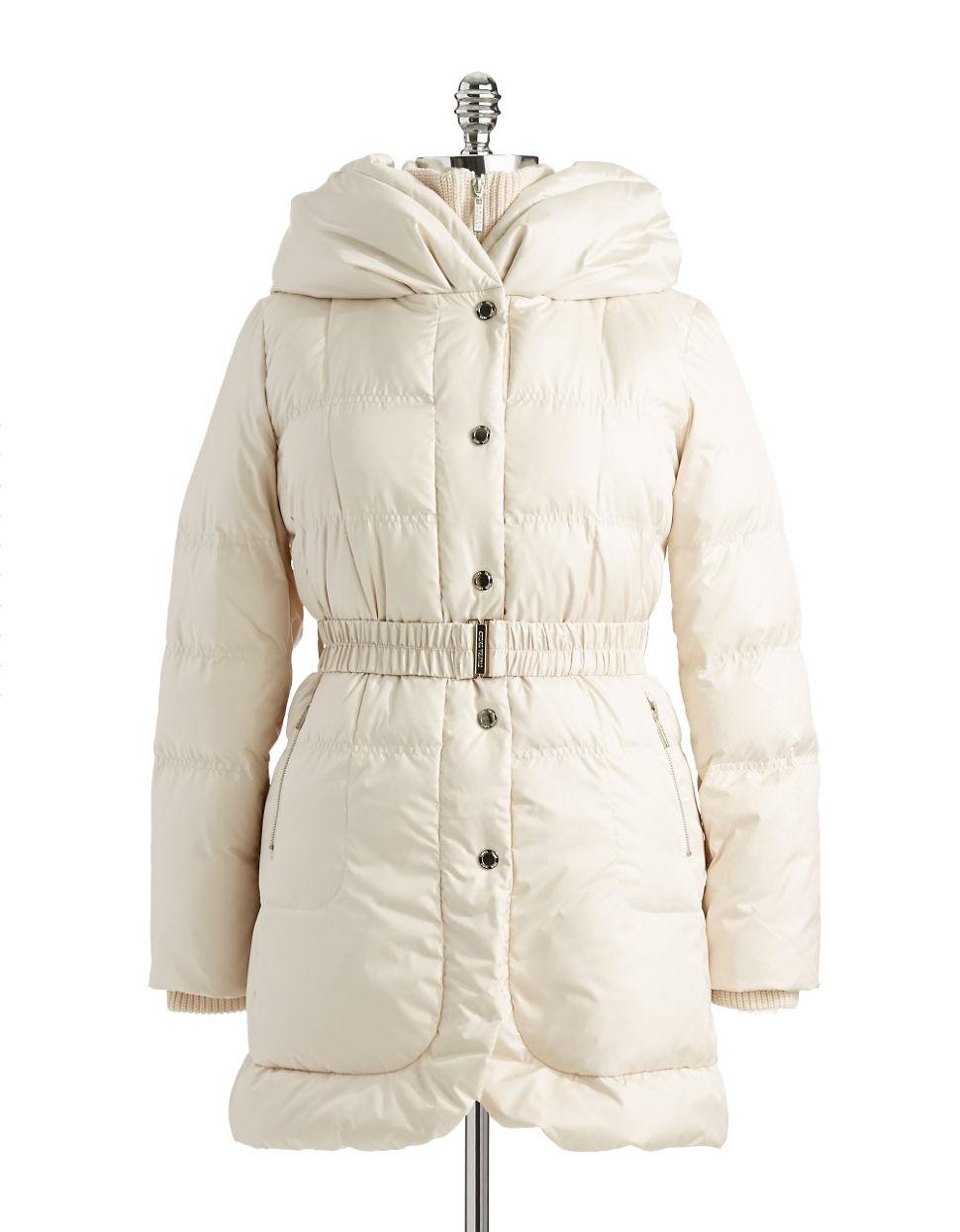 Ivanka Trump Hooded Puffer Jacket In White Ivory Lyst