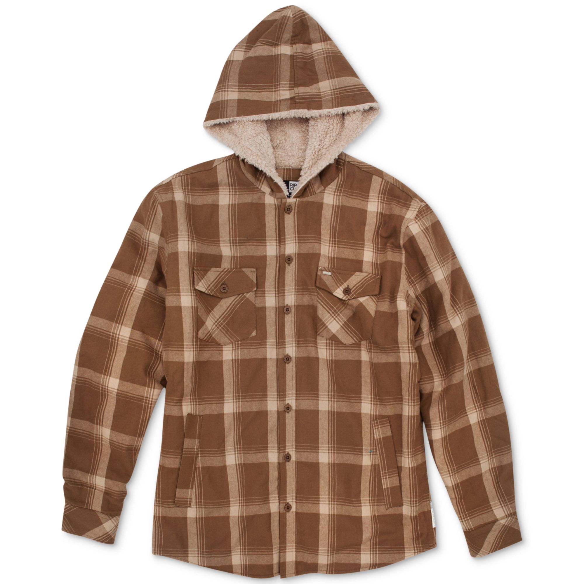 lyst rip curl sherpa lined hooded plaid flannel shirt in. Black Bedroom Furniture Sets. Home Design Ideas