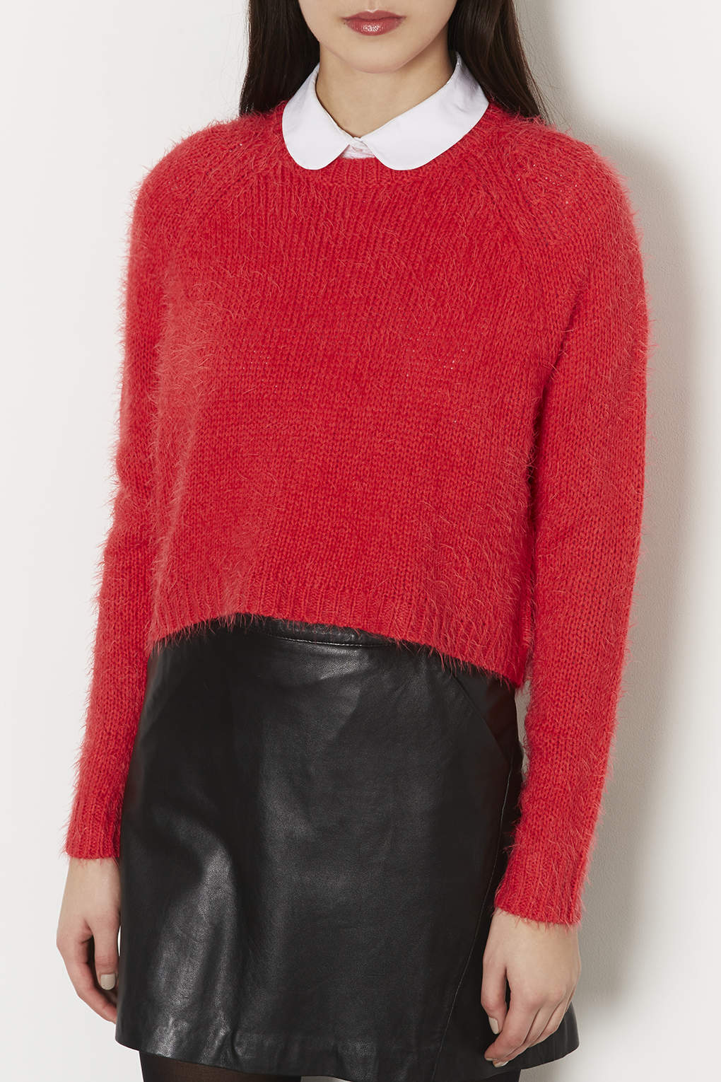 Topshop Knitted Fluffy Crew Jumper in Red | Lyst