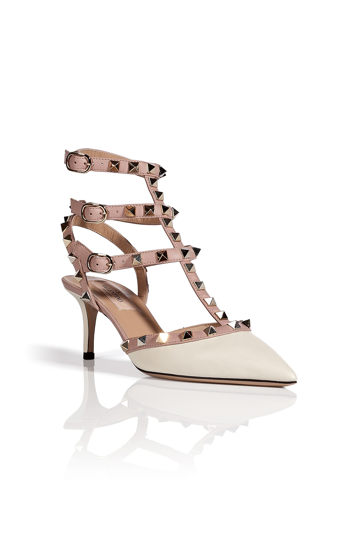 valentino leather rockstud kitten heels in white lyst. Black Bedroom Furniture Sets. Home Design Ideas