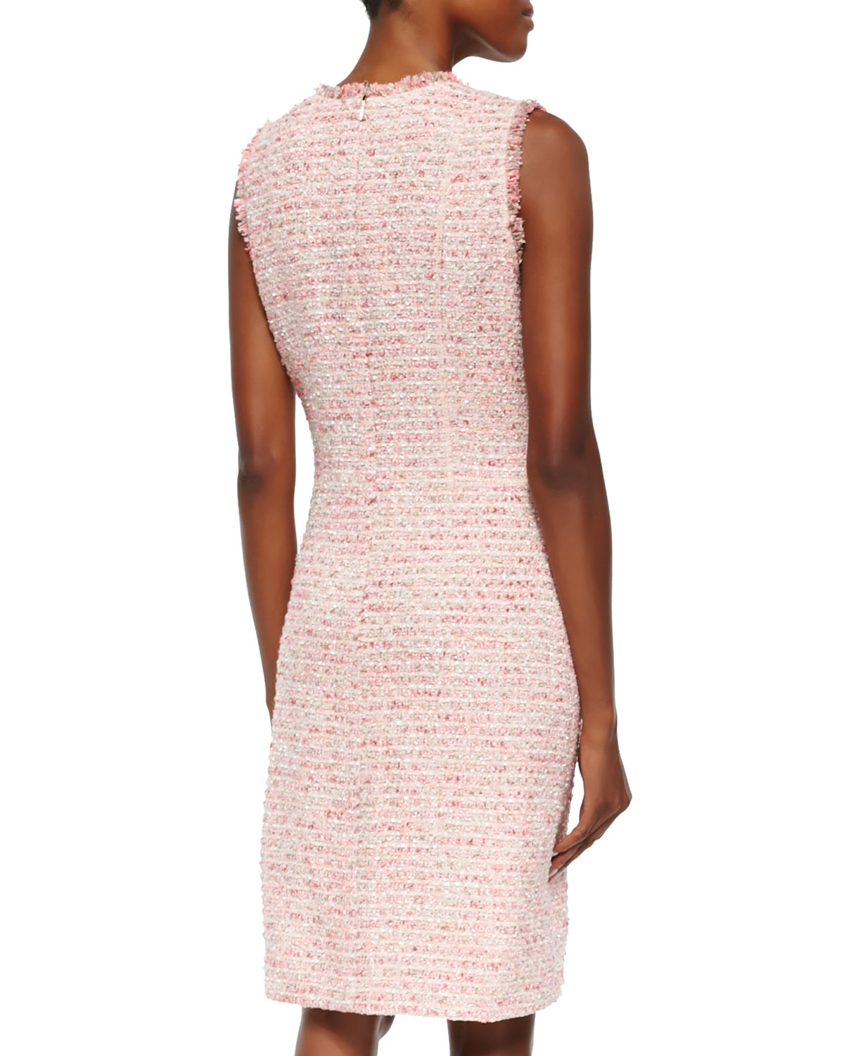 5d0fd750a58b Lyst - Neiman Marcus Sleeveless Boucle Sheath Dress in Pink