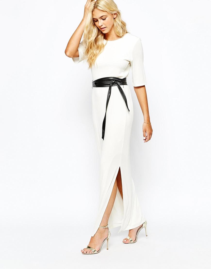 Oasis pleated white maxi dress