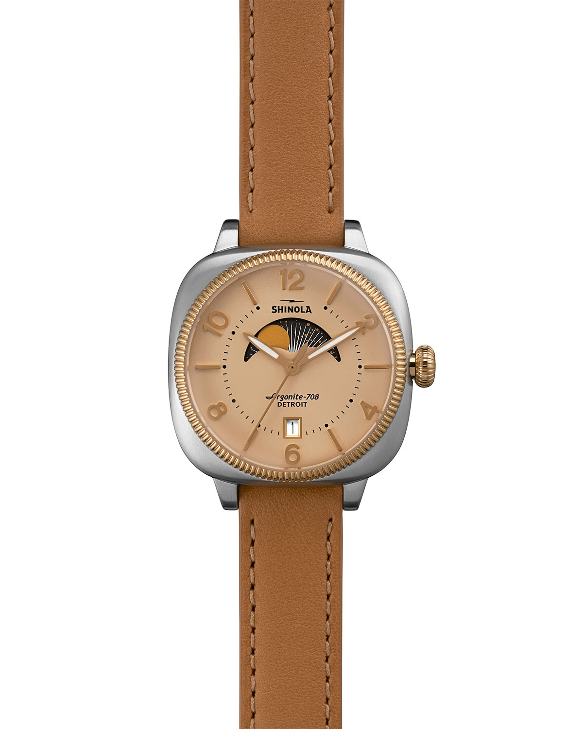 Lyst shinola gomelsky moon phase watch in brown for Shinola watches
