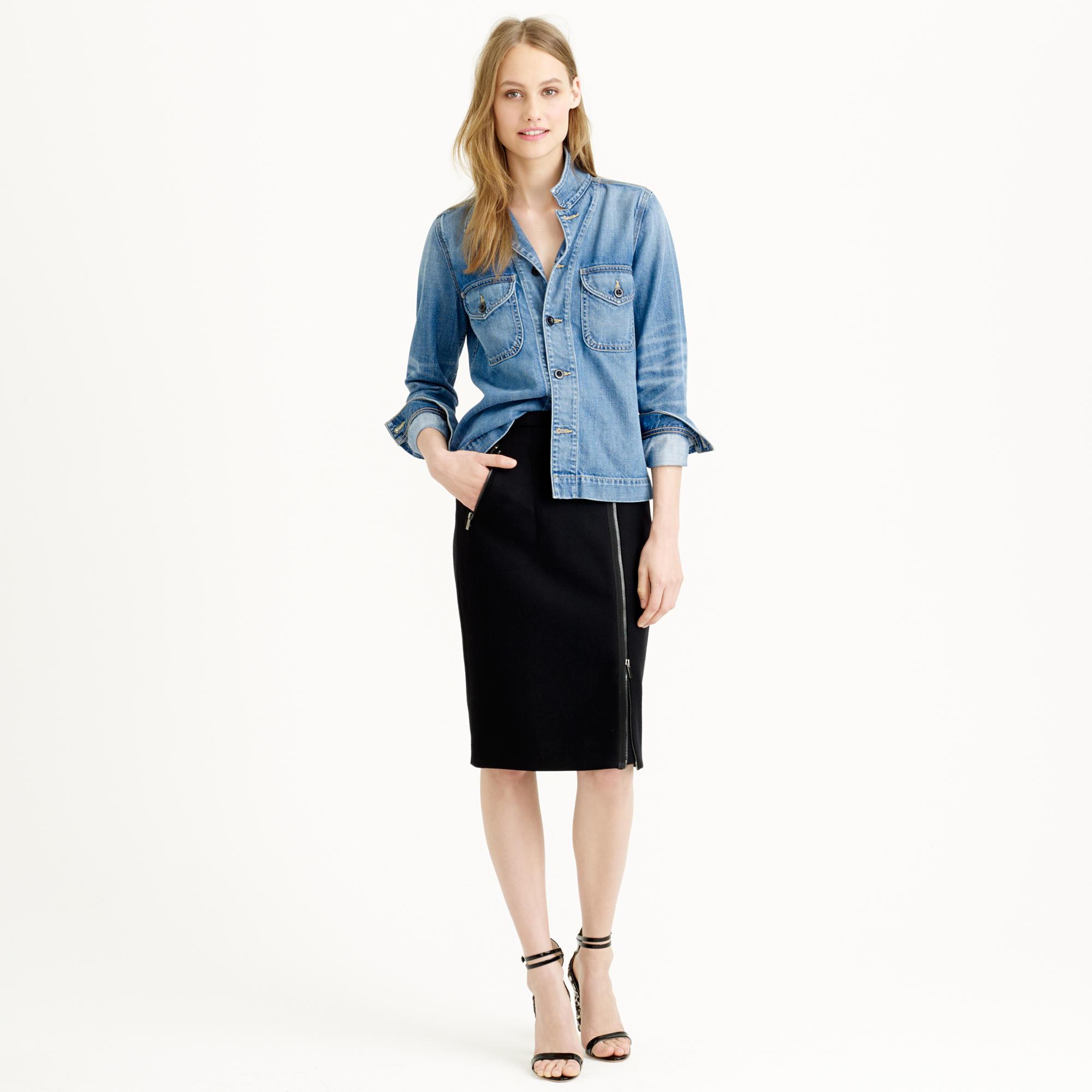 j crew asymmetrical zip pencil skirt in wool in black lyst