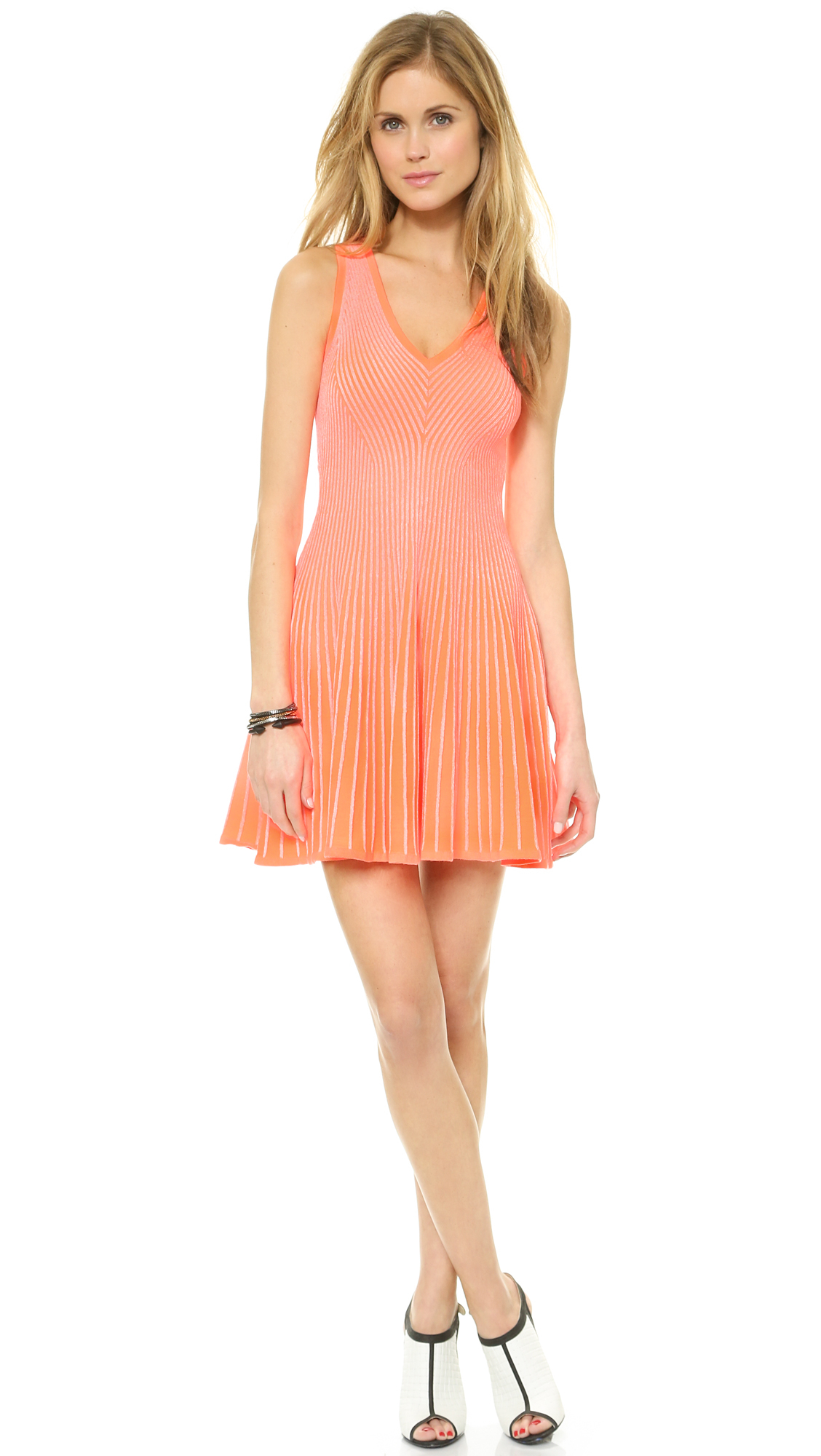 Milly Rib Stretch Flare Dress Coralwhite In Coral White