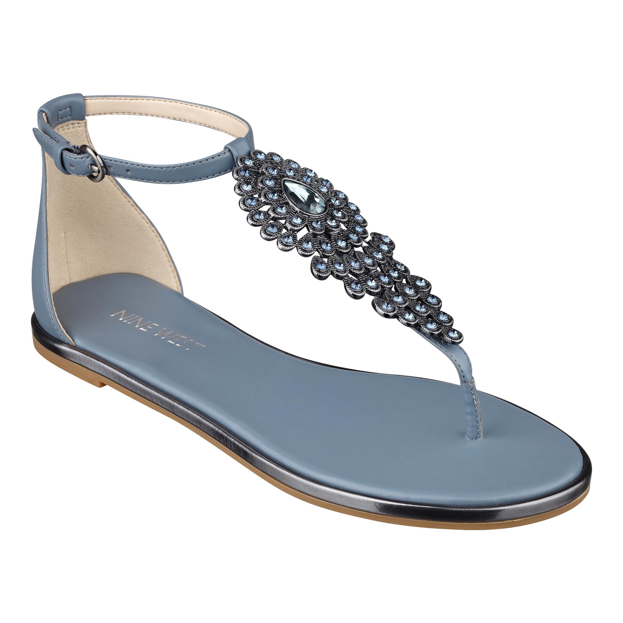 d03f4e802d3f0 Lyst - Nine West Kascada Flat Sandals in Blue