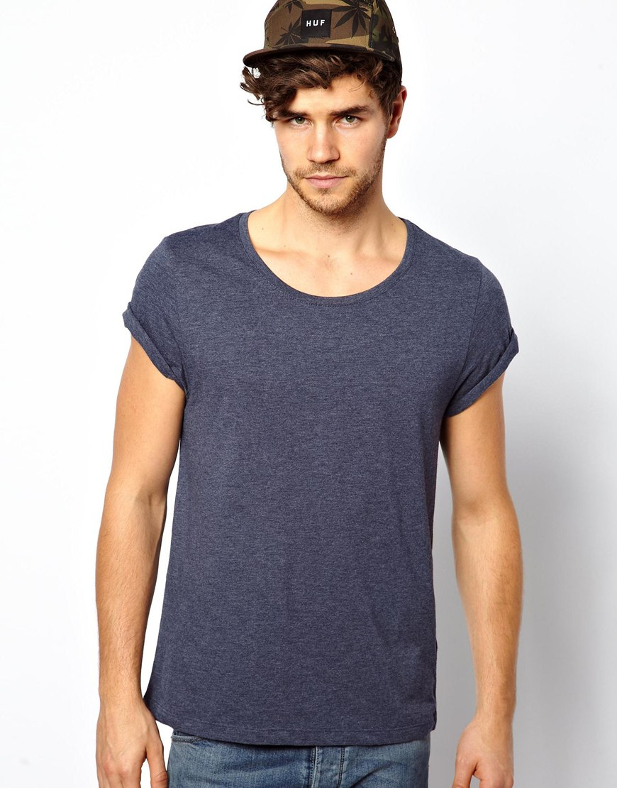 asos t shirt with scoop neck and roll sleeve in gray for