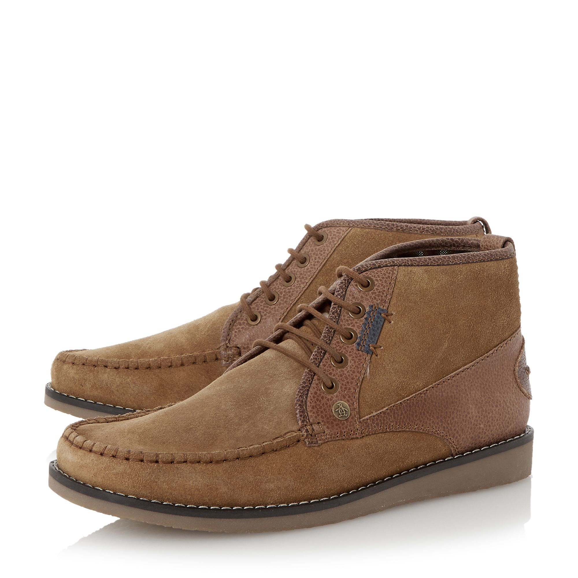 Original Penguin Fall Suede Mocc Toe Chukka Boots In Brown