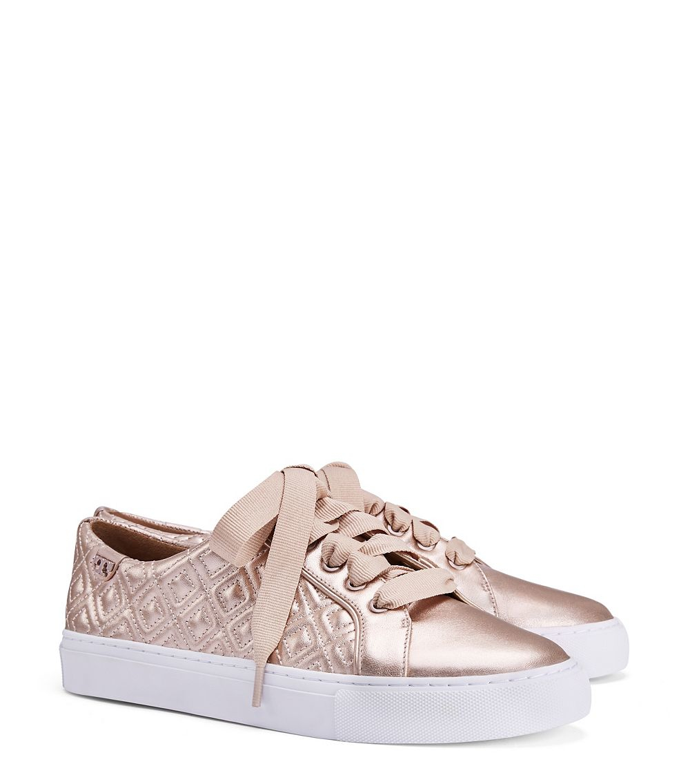 100% authentic 8f8e3 81f55 Tory Burch Leather Marion Quilted Metallic Sneaker in Rose ...