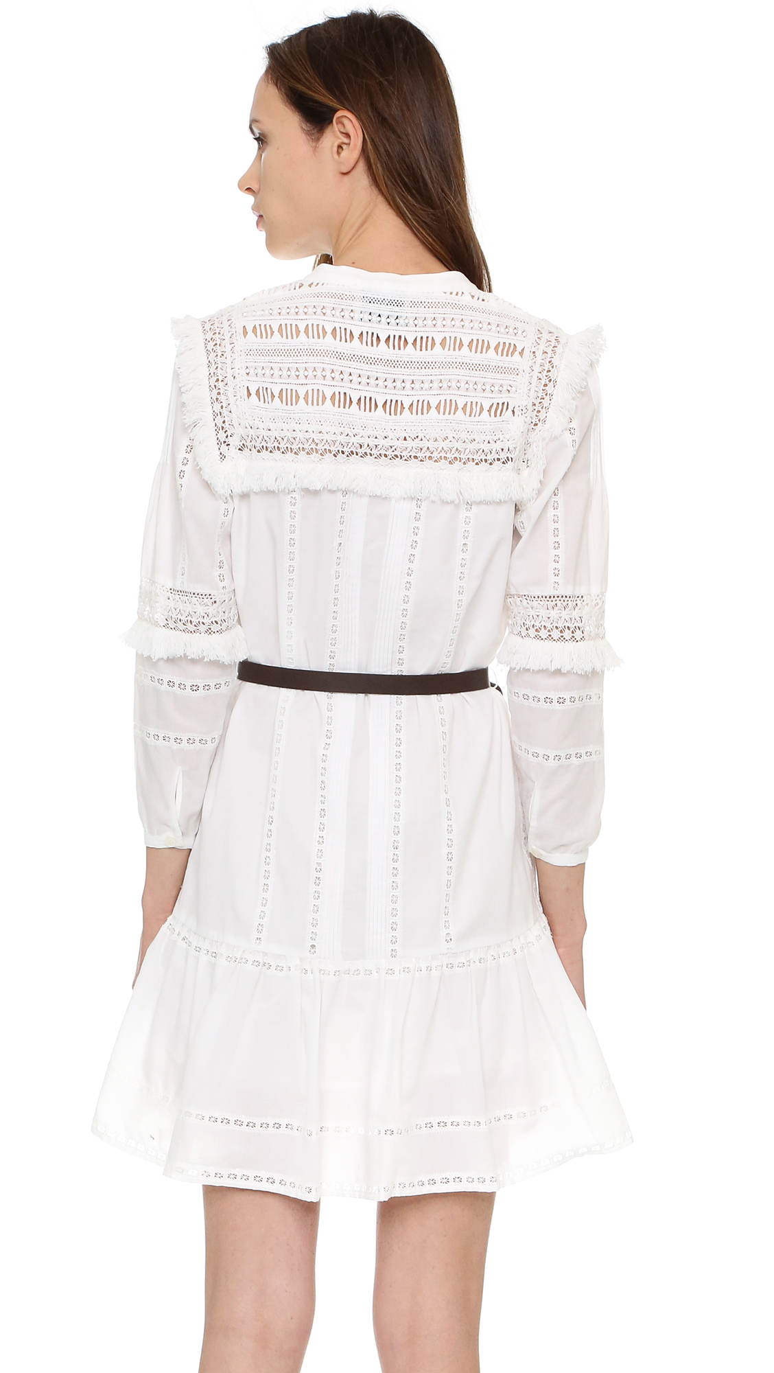 0b506f5c1b83 Lyst - Sea Striped Lace Belted Dress in White