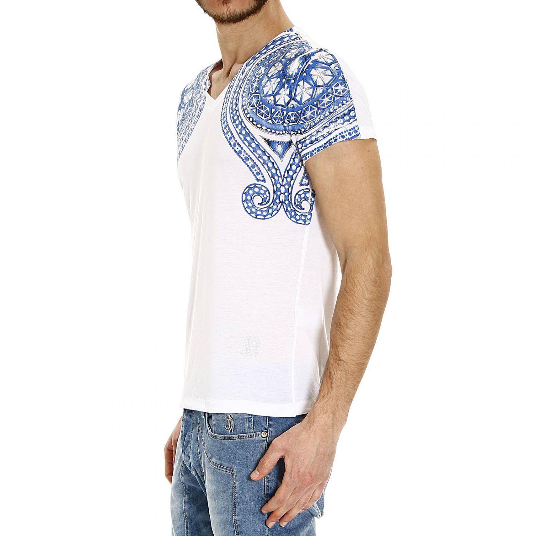 Lyst john richmond studs printed half sleeve v t shirt for T shirt printing richmond va