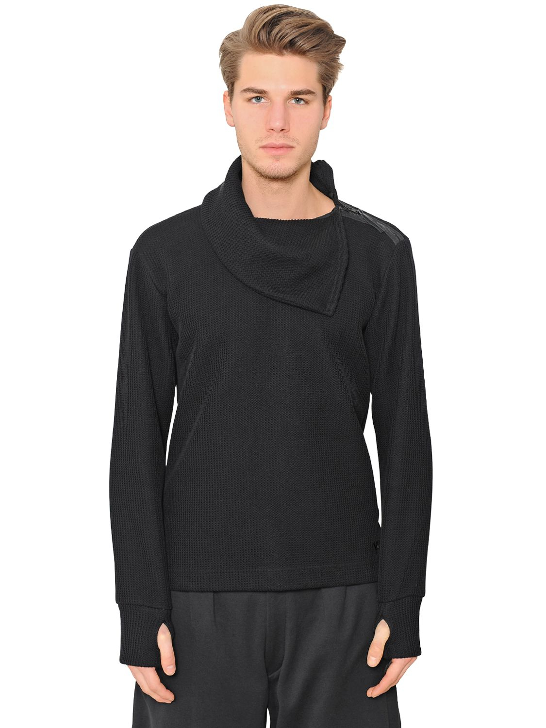 Y-3 Shoulder Zip Cotton Turtleneck Sweater in Black for Men | Lyst