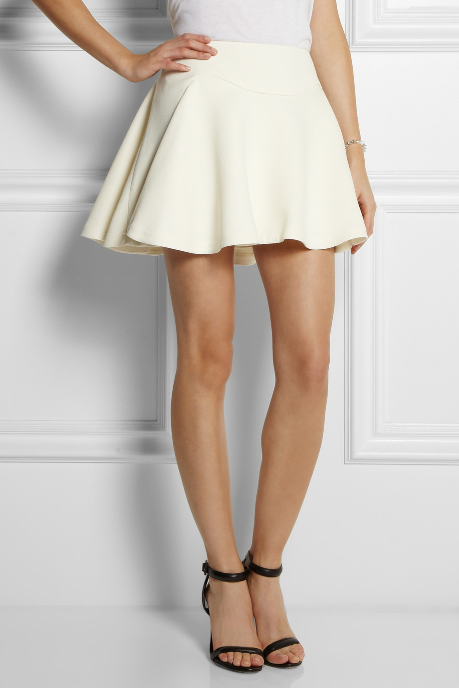 cefff5d18c Lyst - Jay Ahr Flared Stretchcrepe Mini Skirt in White