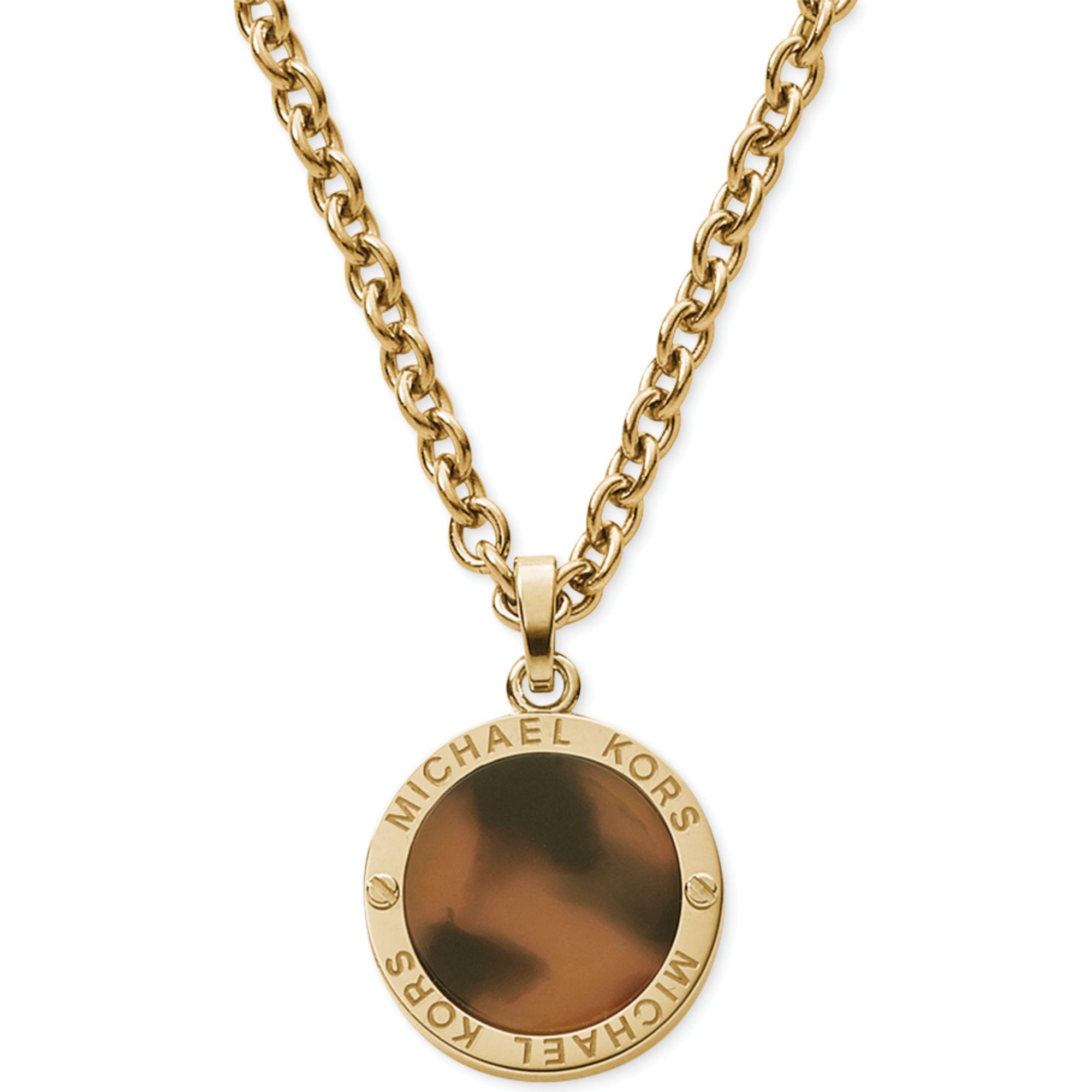 Michael Kors Goldtone Logoetched Tortoise Small Disc