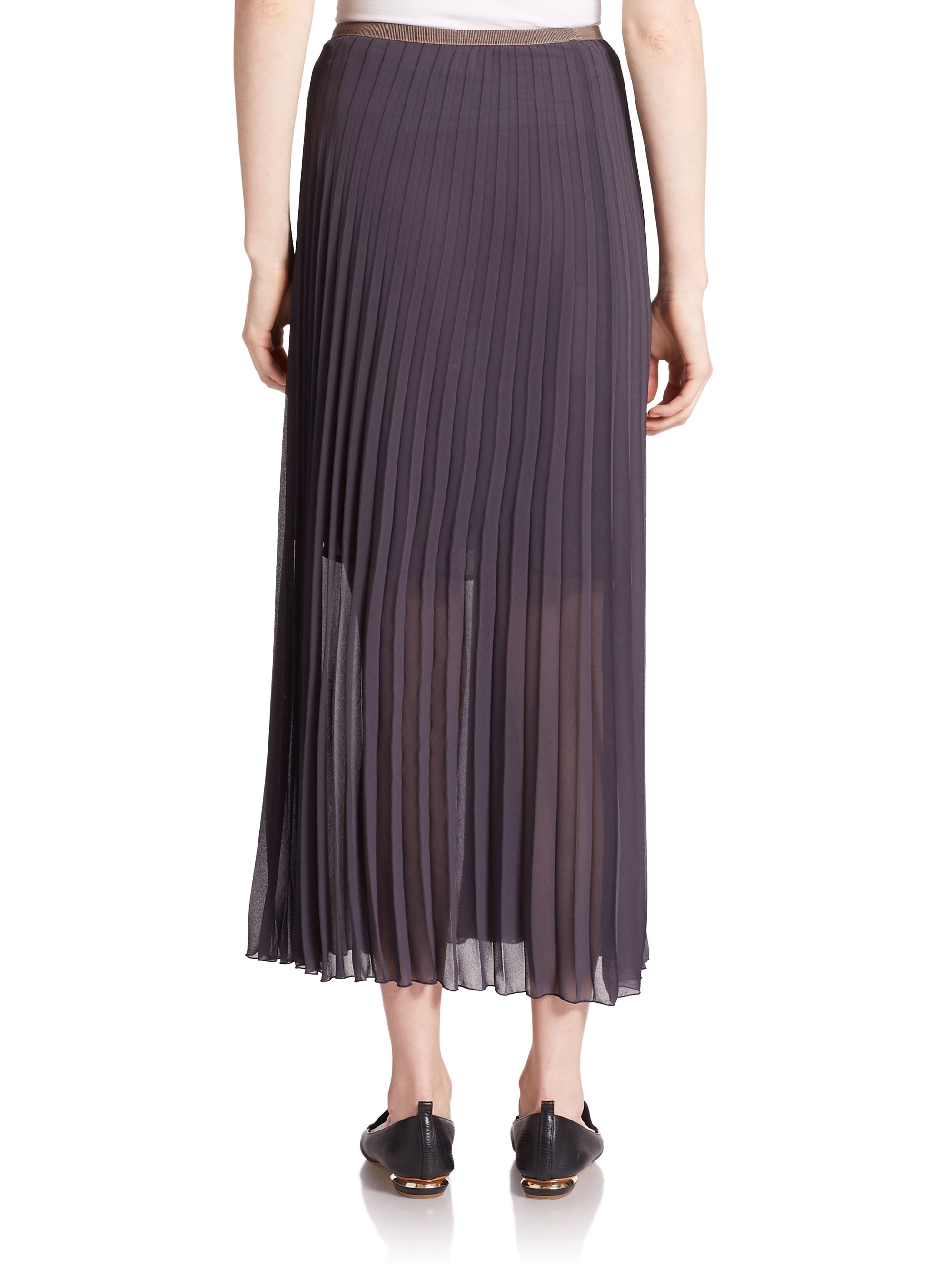 peserico pleated maxi skirt in blue lyst