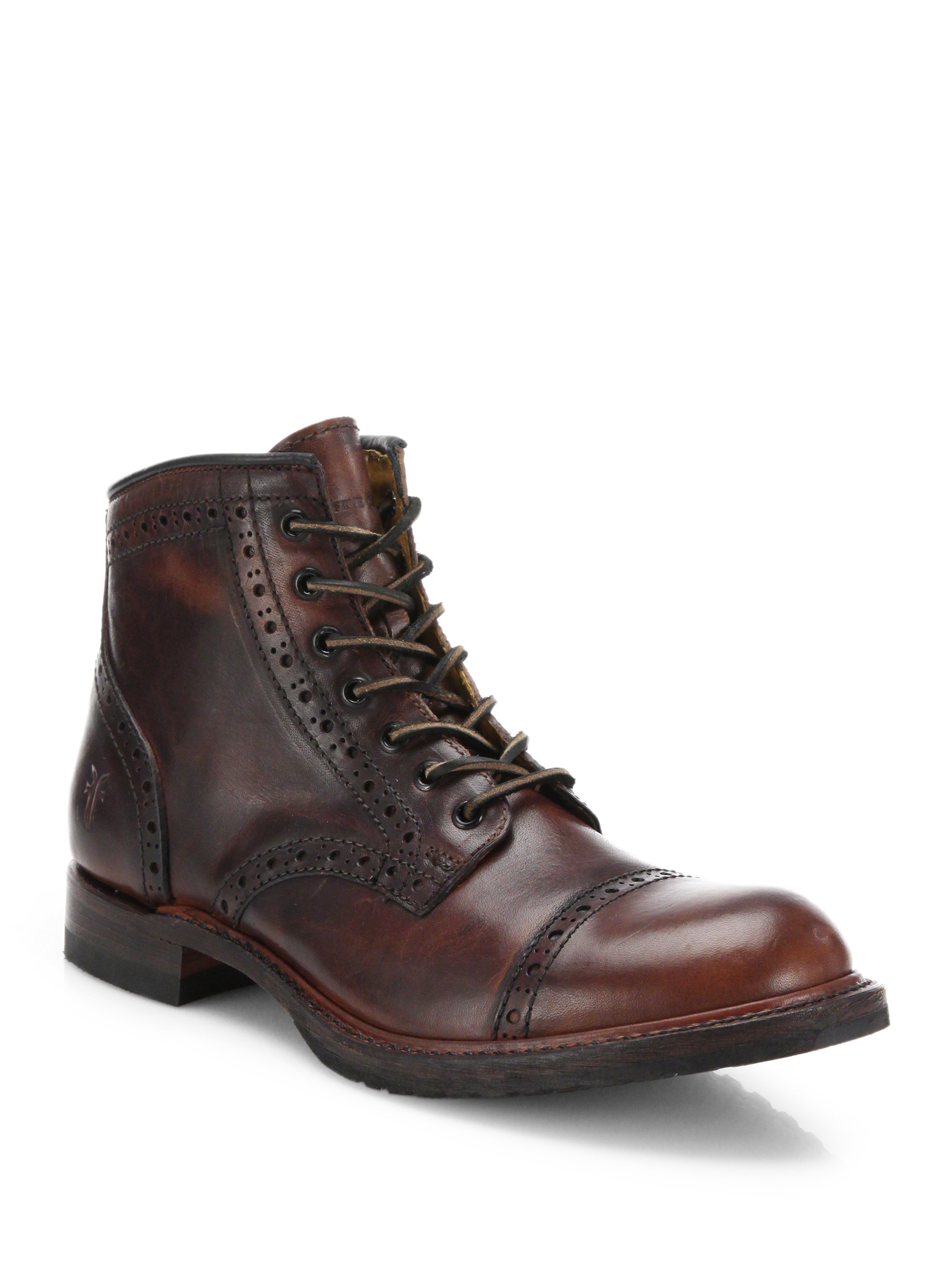 frye logan leather brogue cap toe boots in brown for