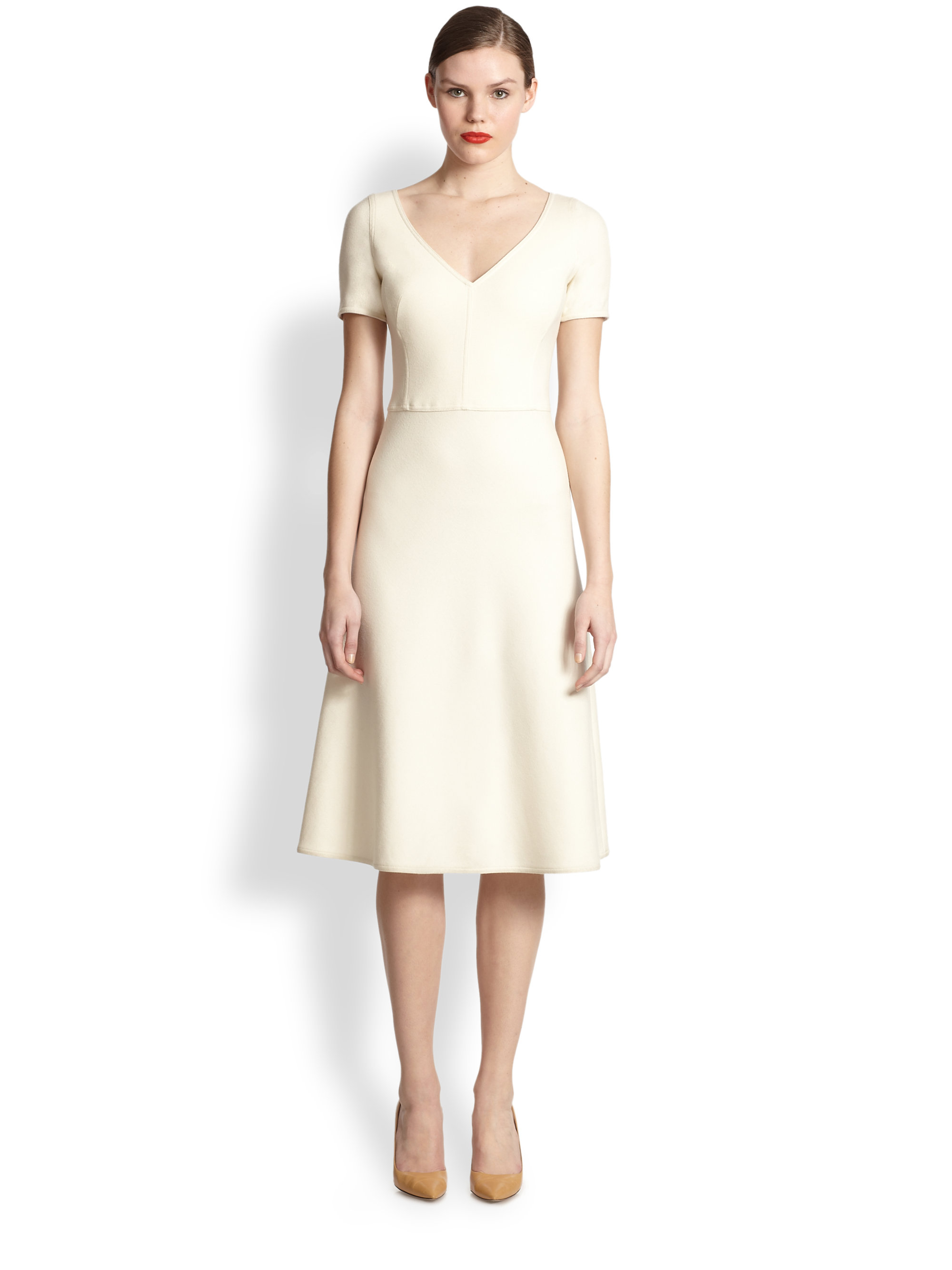 akris belted a line dress in white shore lyst