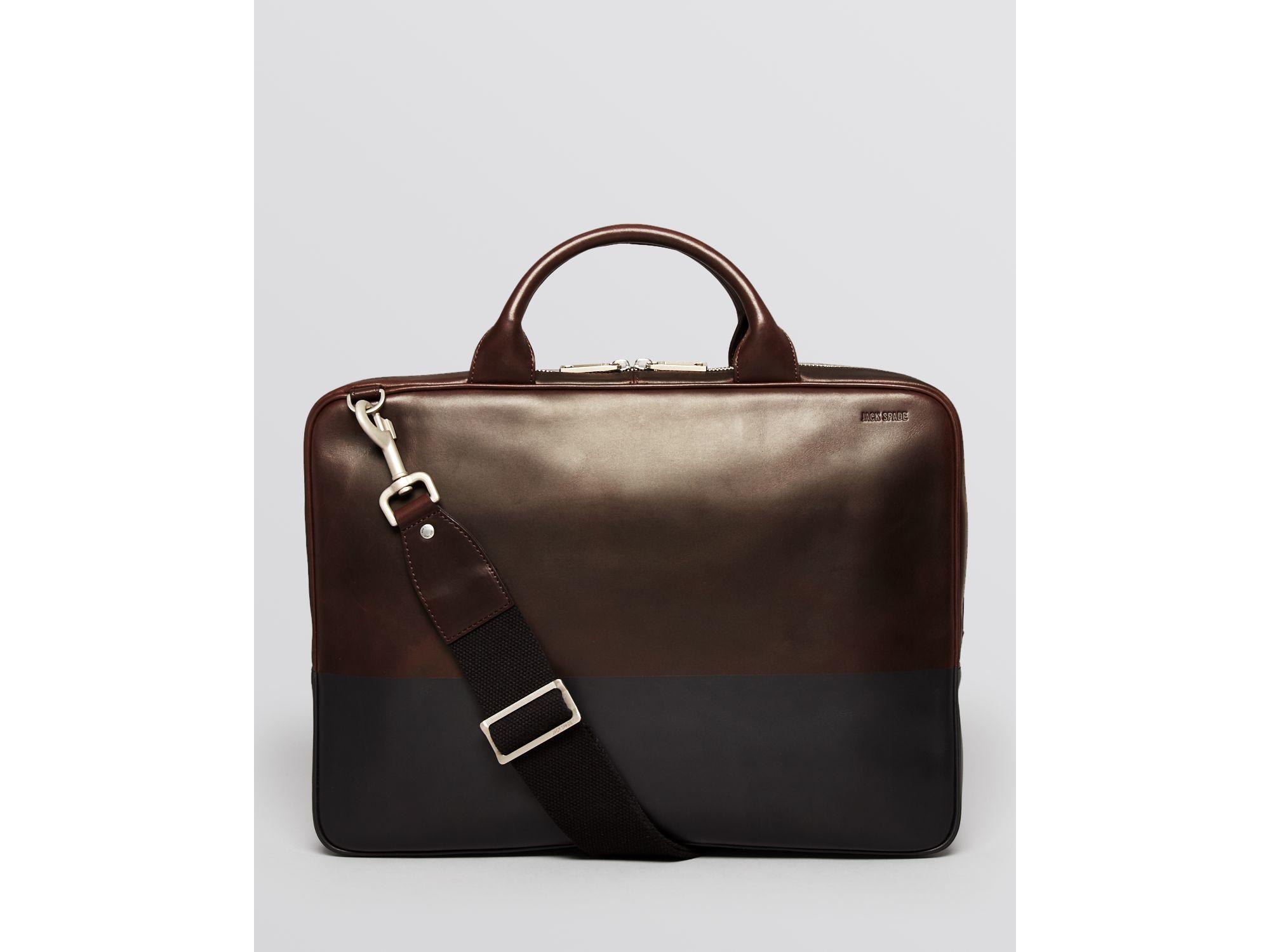 Lyst - Jack Spade Dipped Leather Slim Briefcase in Brown ...