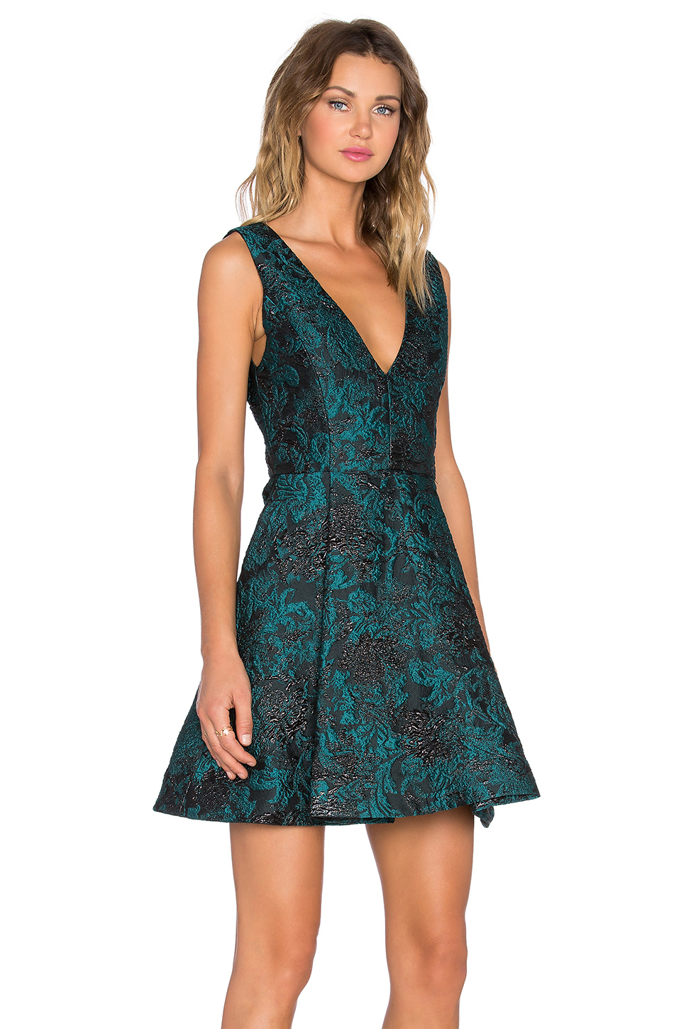 Alice Olivia Synthetic Malory V Neck Crepe Dress In Teal