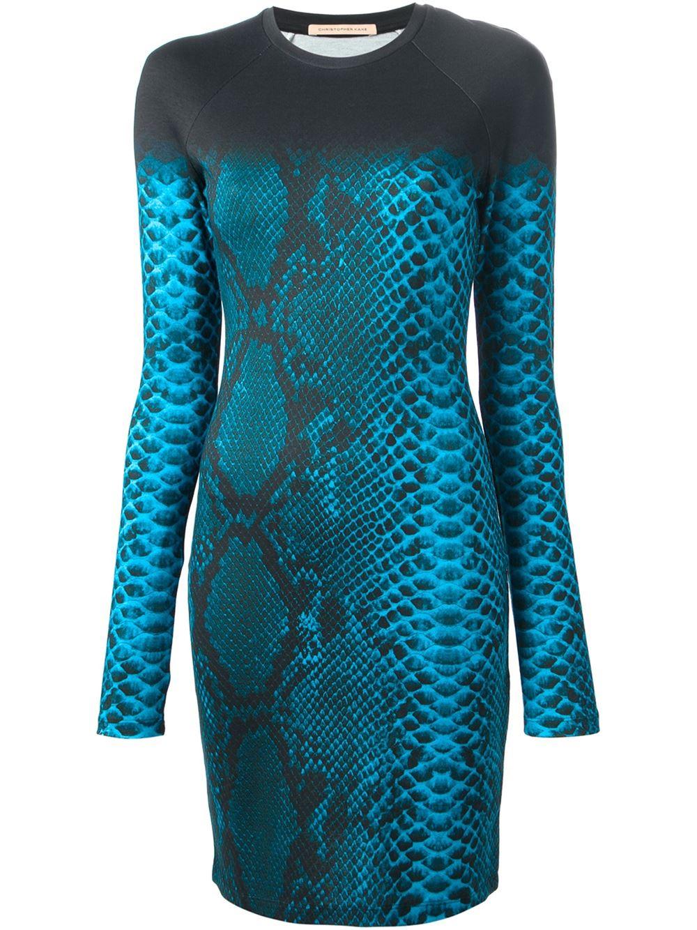 Christopher Kane Snakeskin Print Dress In Blue Lyst