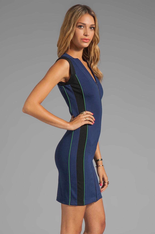 Halston Sleeveless Zip Front Ponte Dress With Colorblock