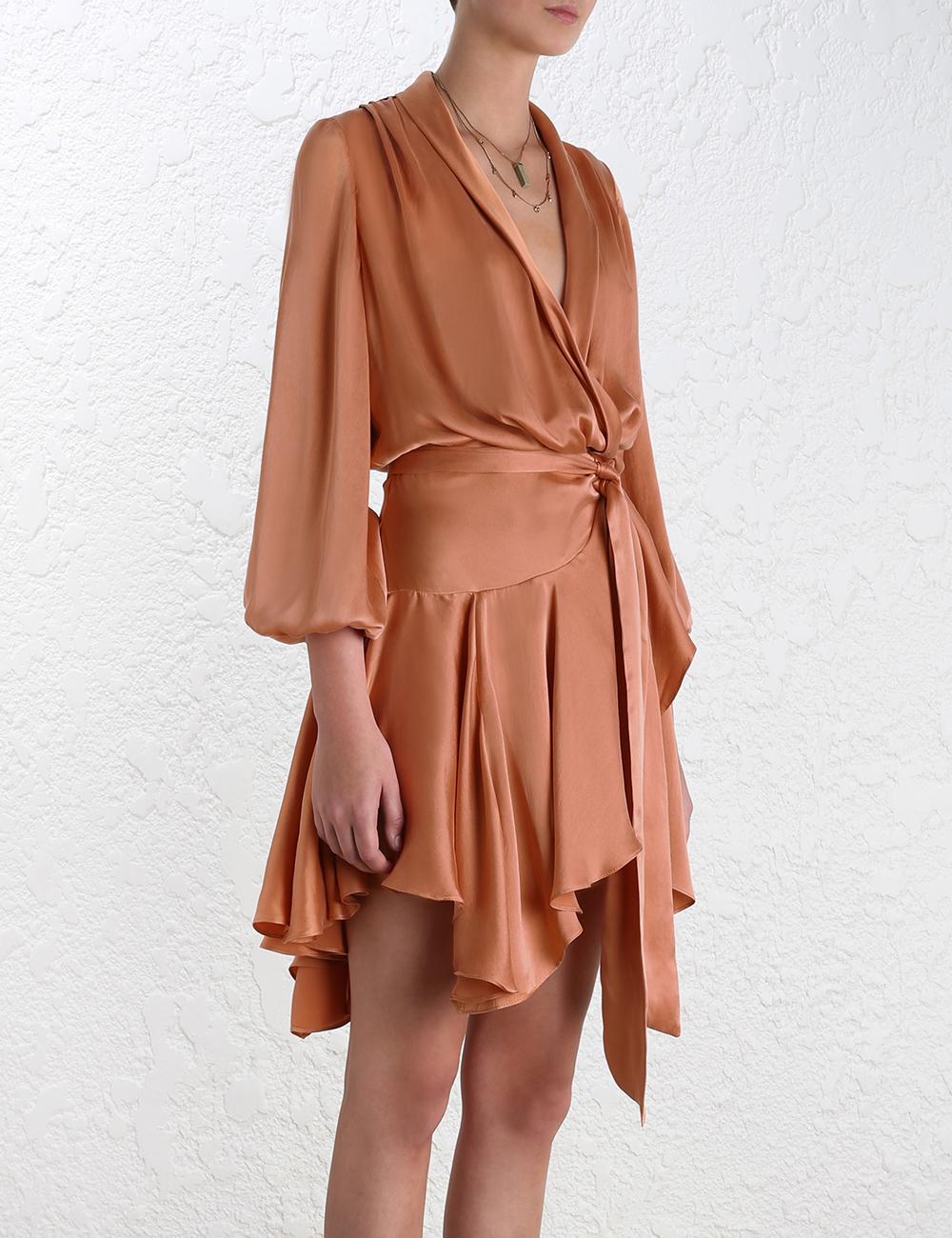 Lyst Zimmermann Empire Sueded Robe Dress In Orange