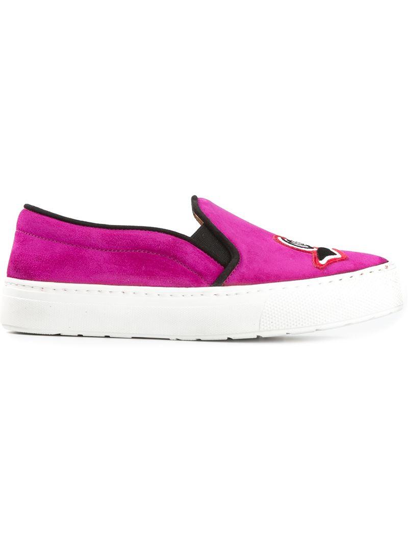 Markus Lupfer Oui Patch Sneakers in Pink & Purple (Purple)