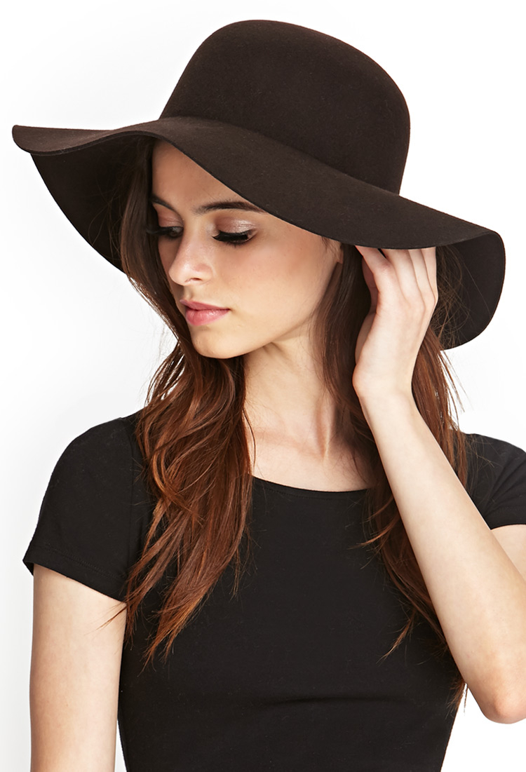 8bcc9d354 Forever 21 Brown Classic Wool Floppy Hat