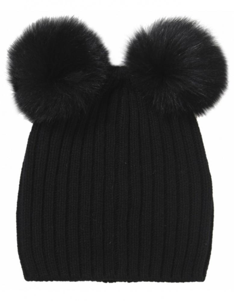 Taupe Knit Hat with Double Pom Pom - Black Helene Berman sPjnDxW