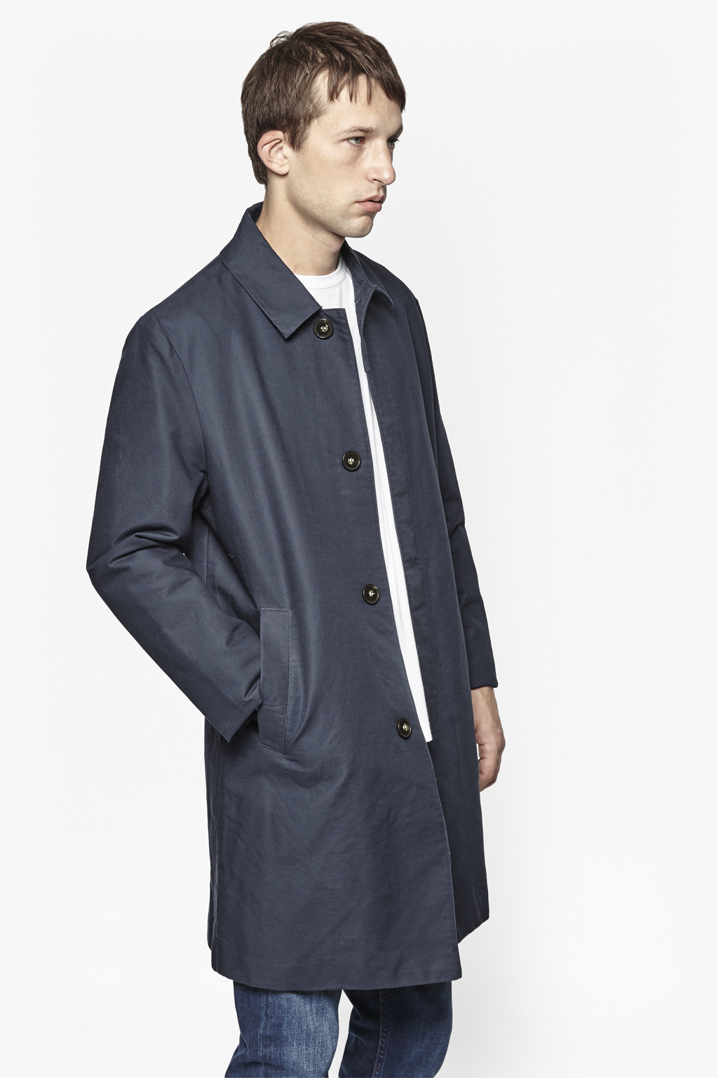 Lyst French Connection Coated Cotton Rain Mac In Black