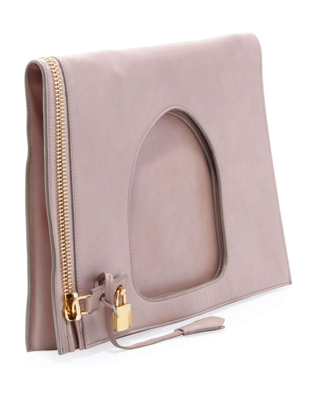 0b379bb055ffb Tom Ford Alix Leather Padlock & Zip Shoulder Bag in Natural - Lyst