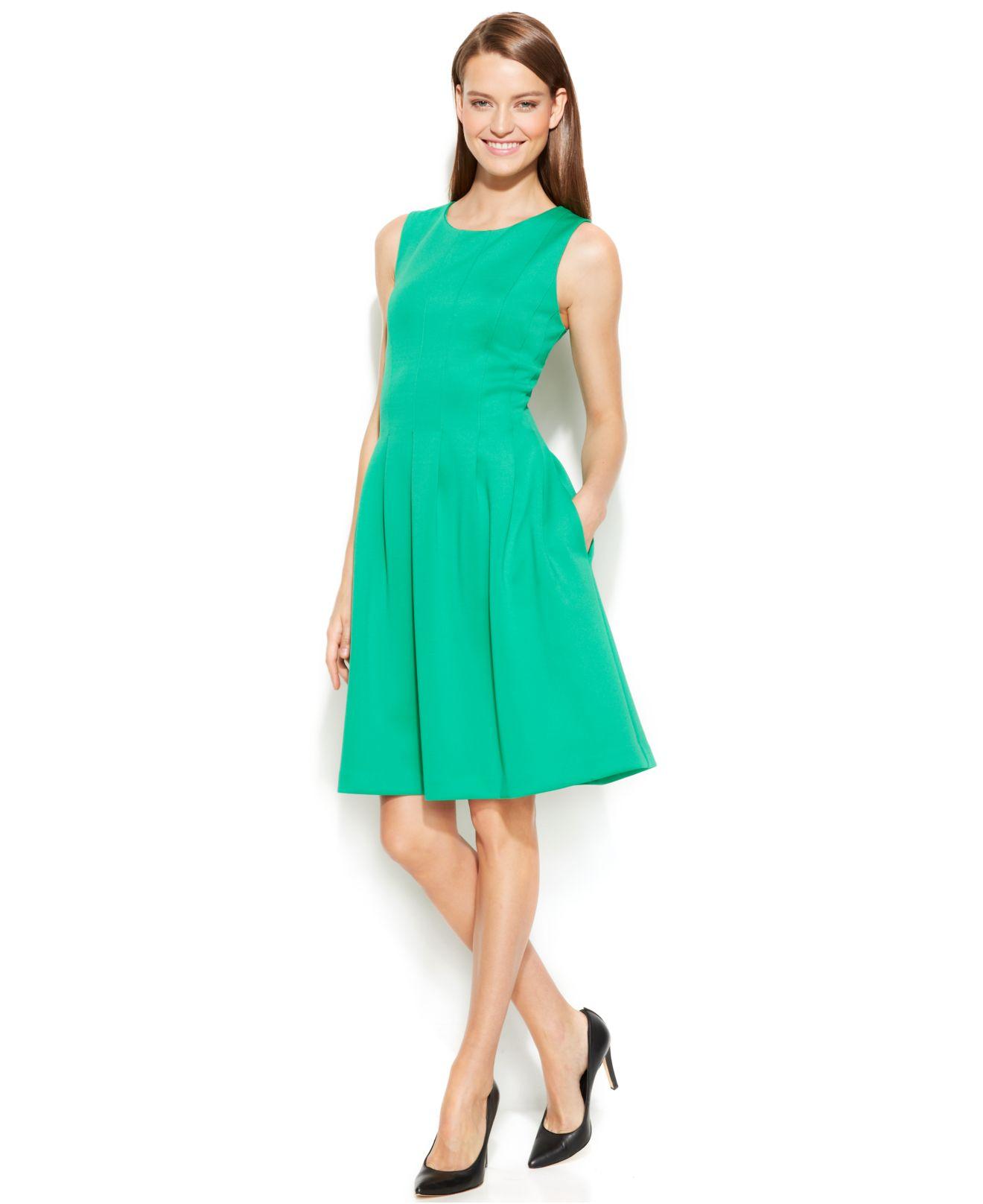 Lyst Calvin Klein Sleeveless Scuba Fit Amp Flare Dress In