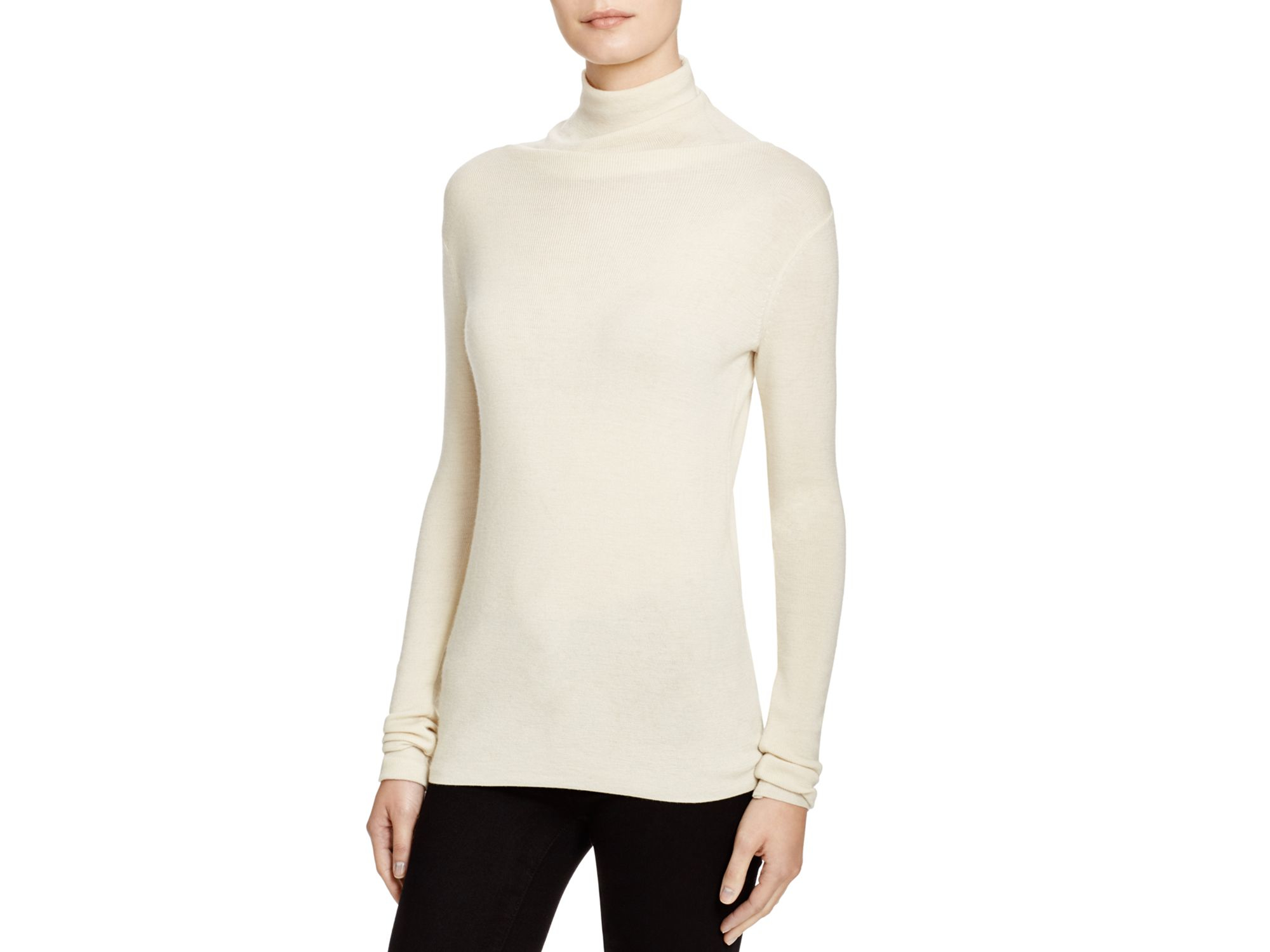 Joie Cenelle Wool-silk Turtleneck Sweater in Natural | Lyst