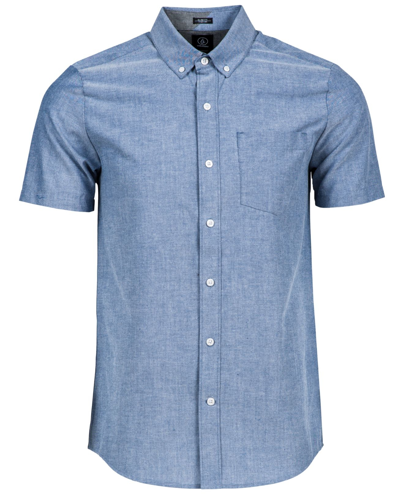Lyst volcom men 39 s everett short sleeve oxford shirt in for Mens short sleeve oxford shirt