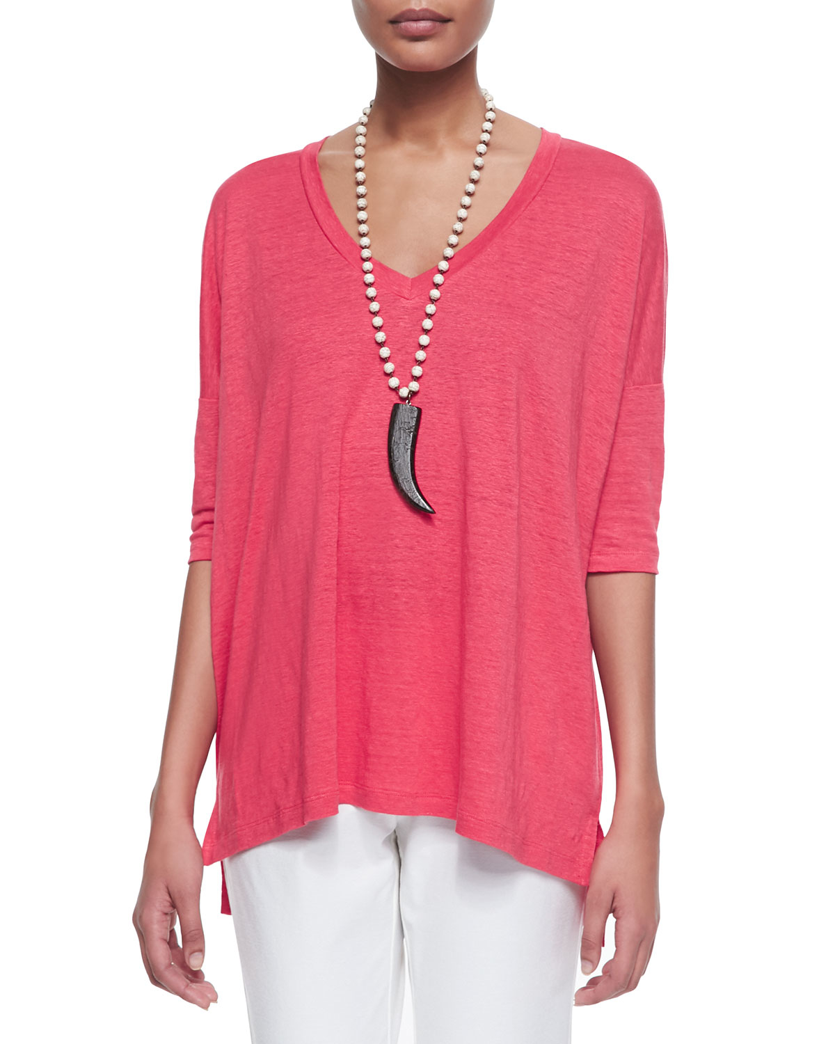 Lyst Eileen Fisher Linen V Neck Boxy Tunic In Pink