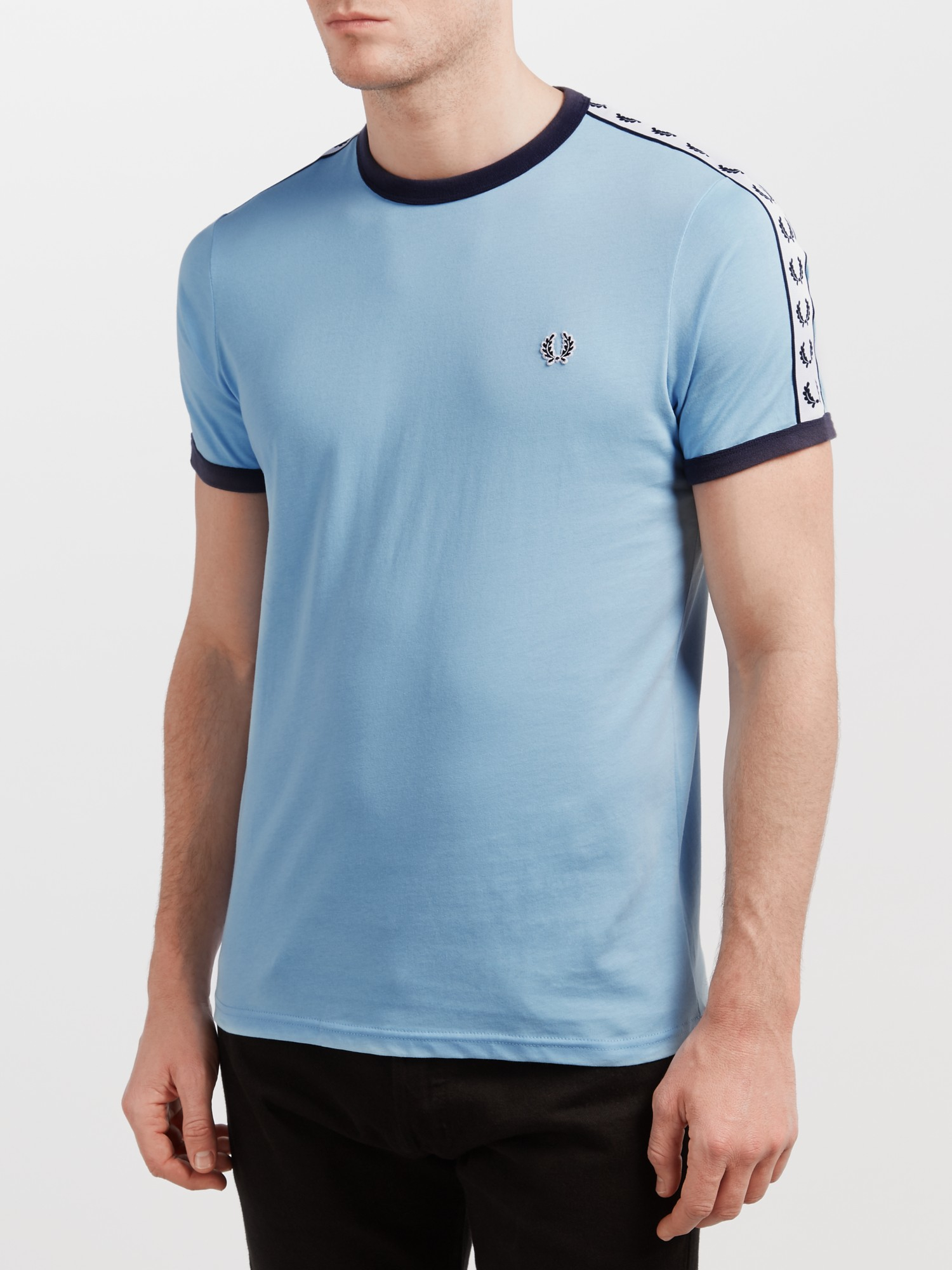 fred perry blue sports authentic taped ringer t shirt for men lyst. Black Bedroom Furniture Sets. Home Design Ideas