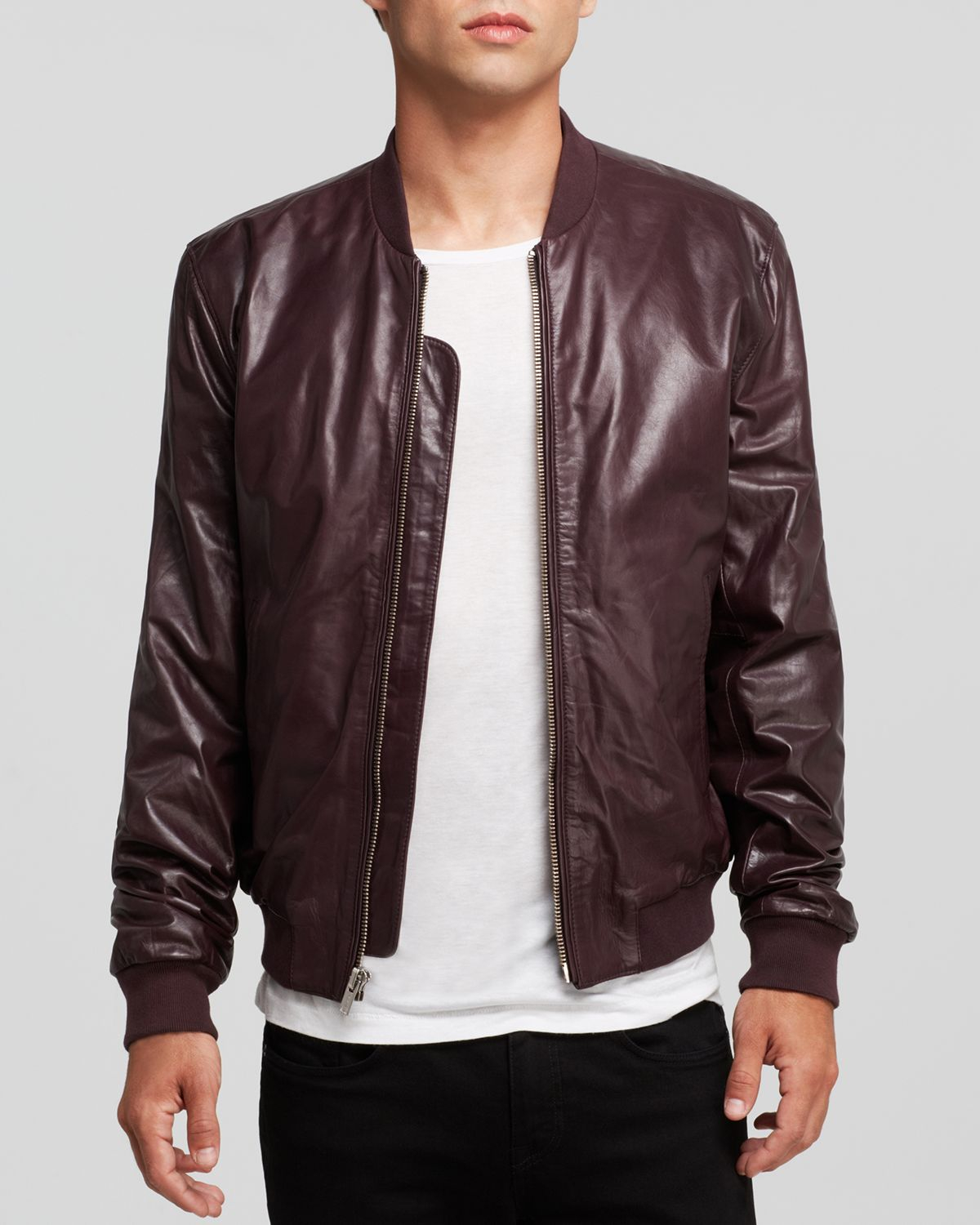 b2f9acd02 BLK DNM Red Leather Bomber Jacket for men