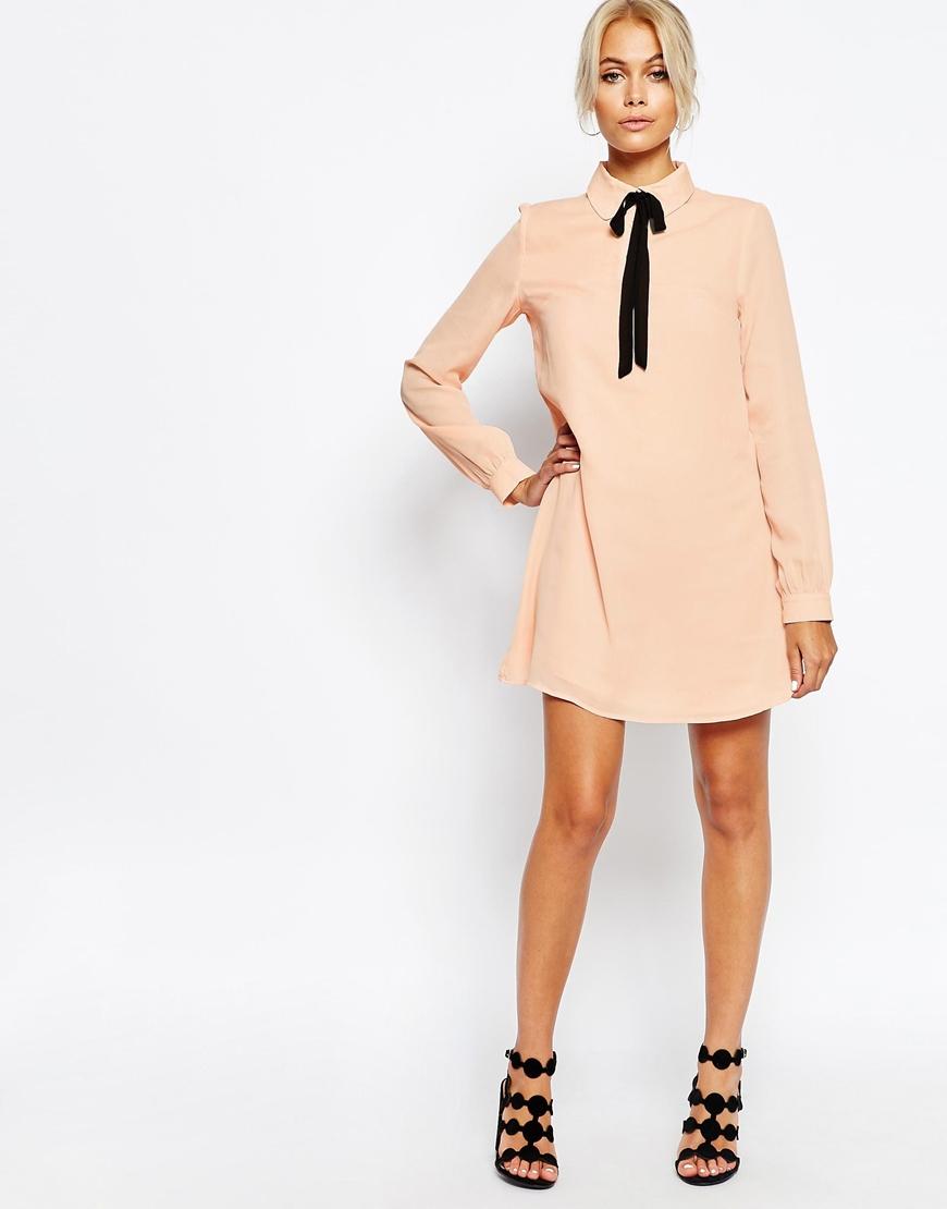 accurato golf obbiettivo  Fashion Union Synthetic Shirt Dress With Tie Neck in Nude (Natural ...