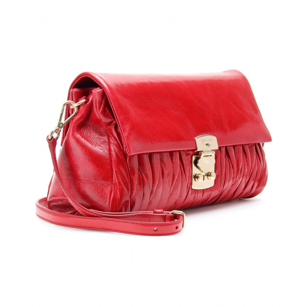 67e8703536b8 Lyst - Miu miu Matelassé Glazed Leather Shoulder Bag in Red