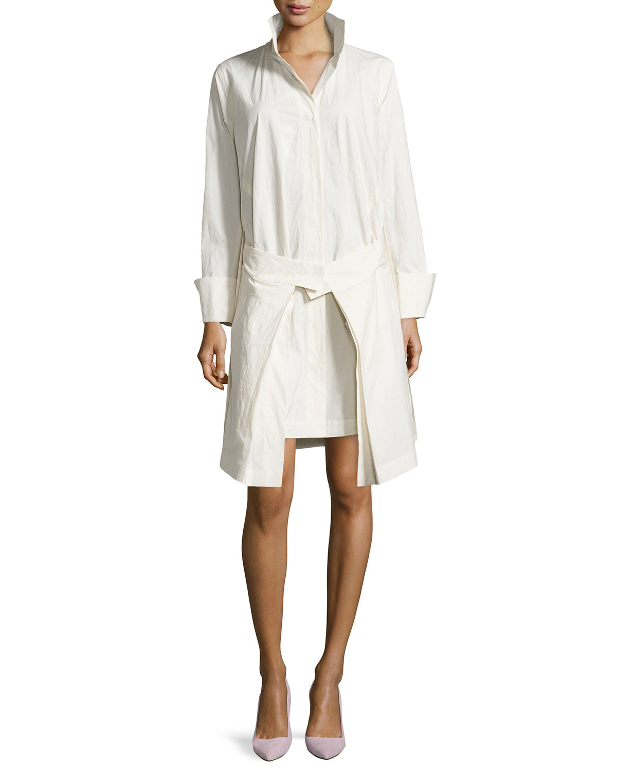 Lyst donna karan long sleeved belted shirt dress in white for New york and company dress shirts